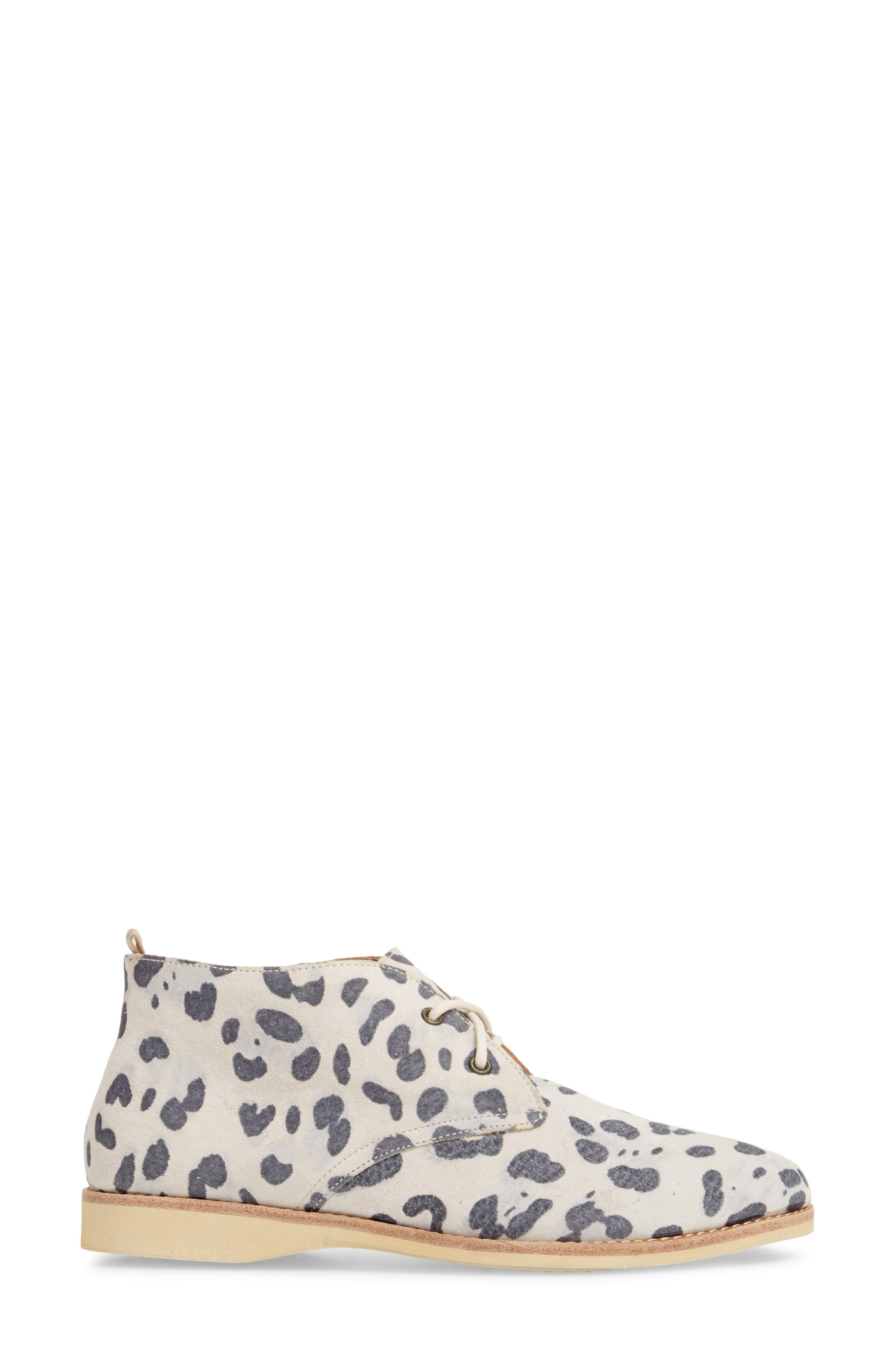 Chukka Bootie,                             Alternate thumbnail 4, color,                             Grey Leopard Suede
