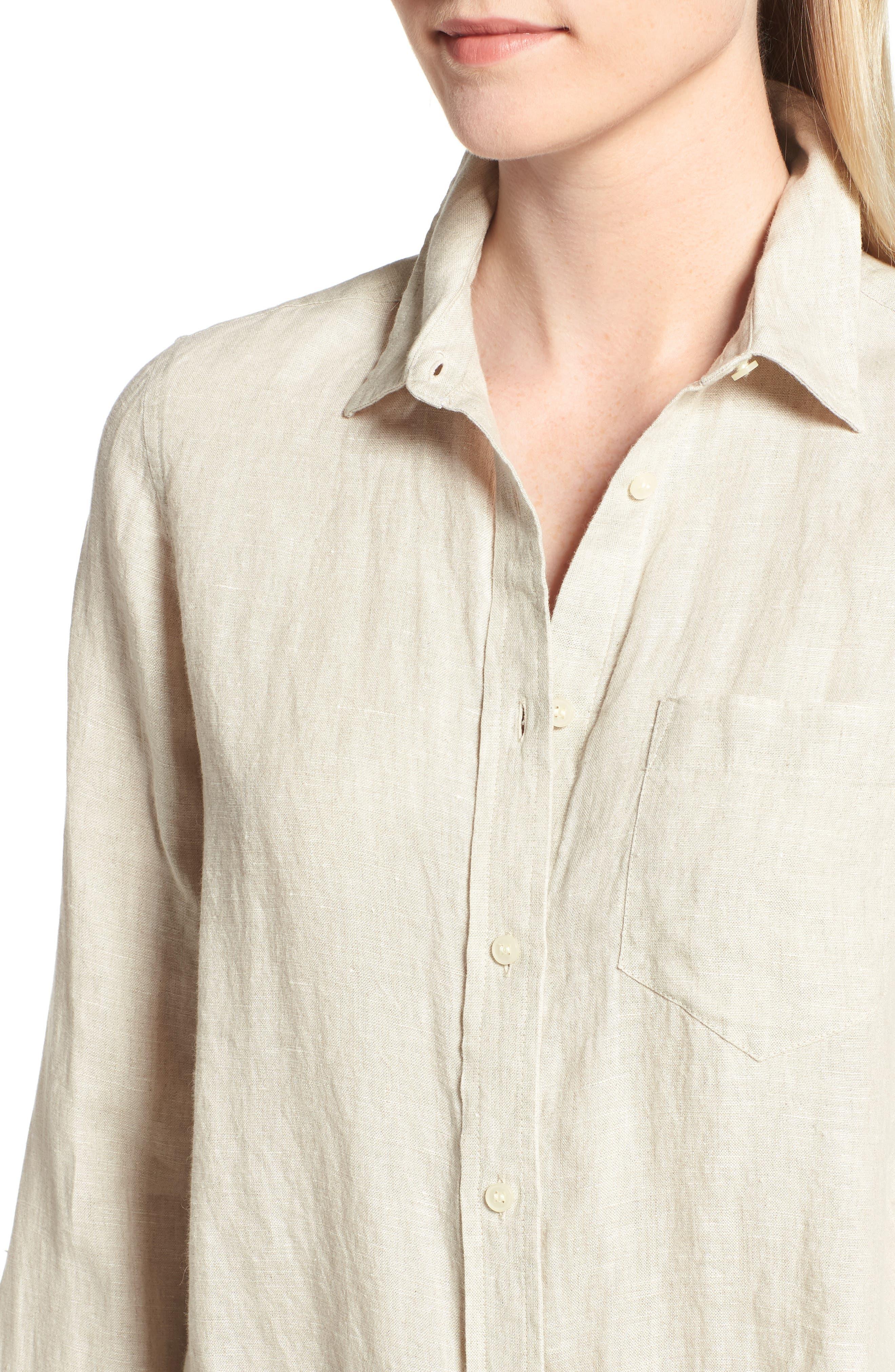 Tie Front Linen Shirt,                             Alternate thumbnail 4, color,                             Flax