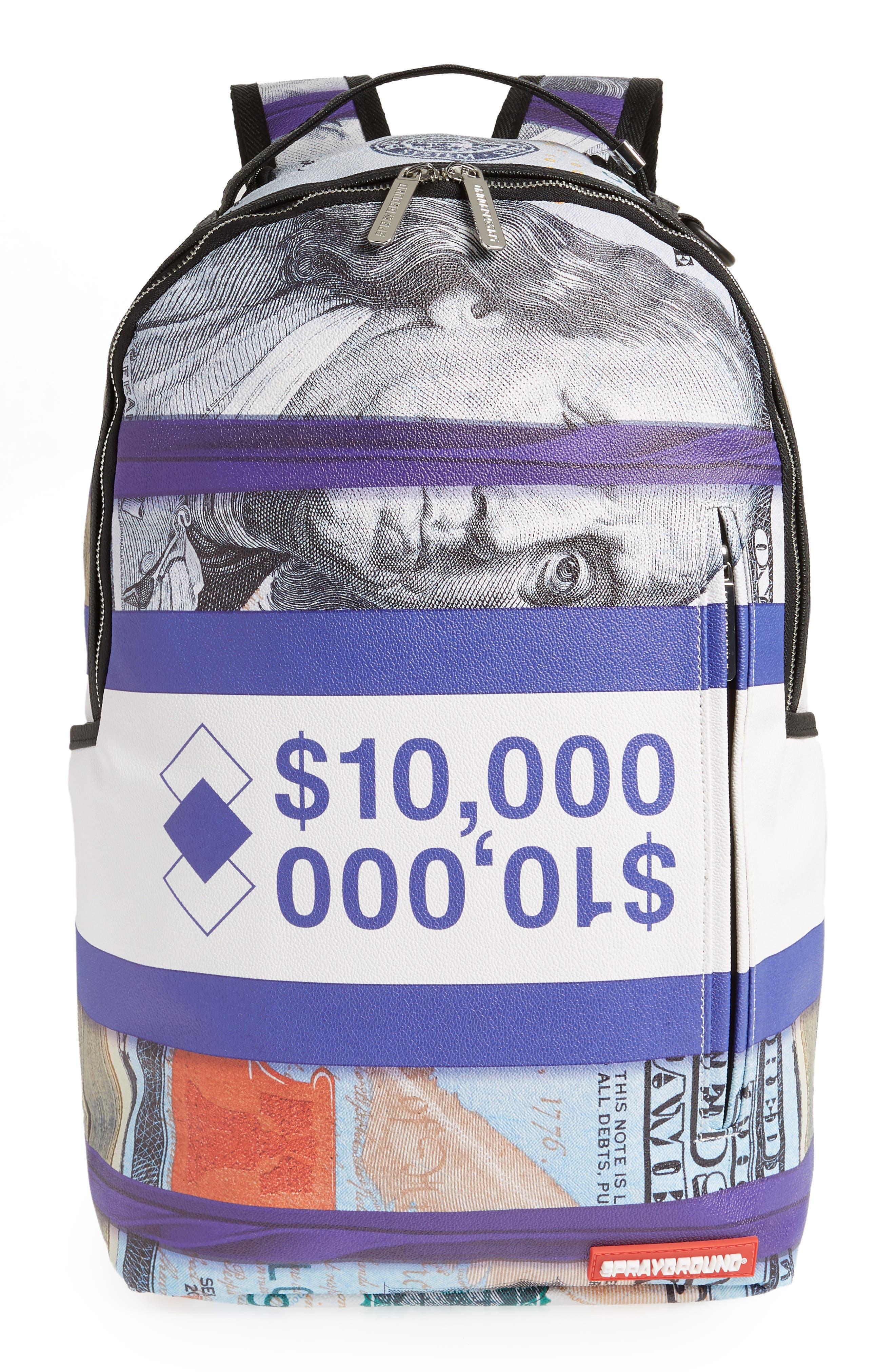 Purple Money Stacks Backpack,                         Main,                         color, Purple