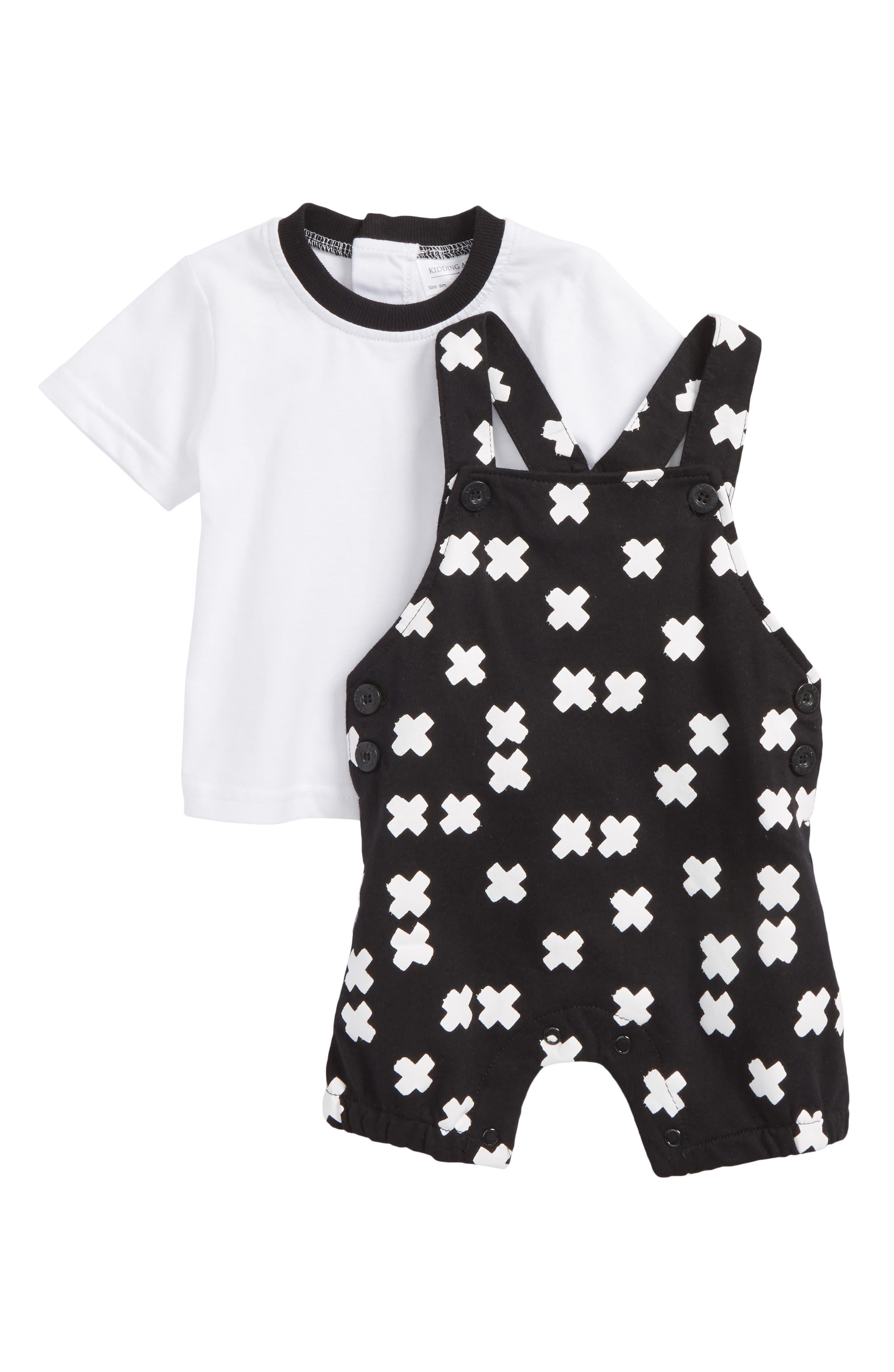 Tee & Short Overalls Set,                         Main,                         color, X White/ Black