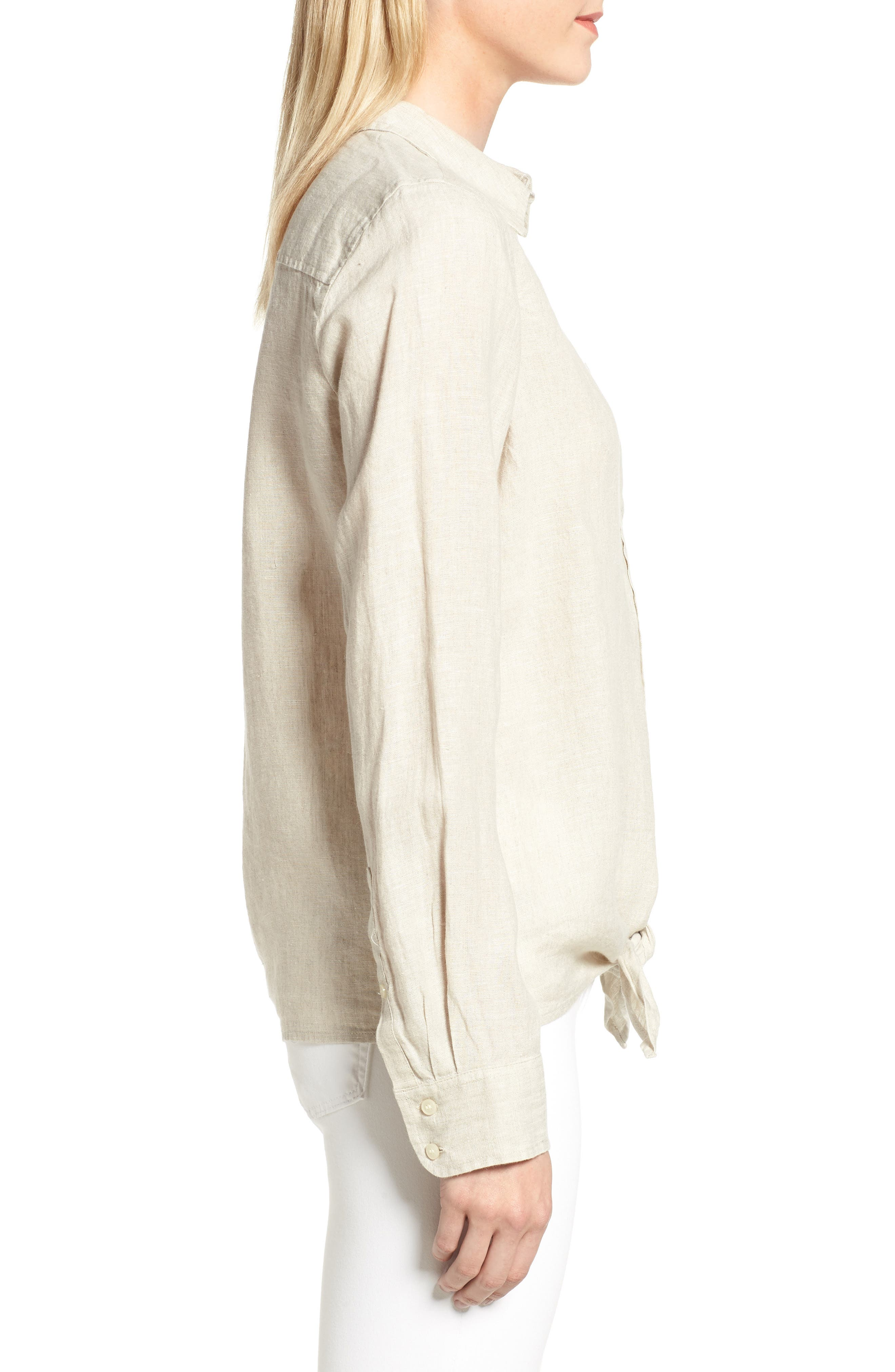 Tie Front Linen Shirt,                             Alternate thumbnail 3, color,                             Flax