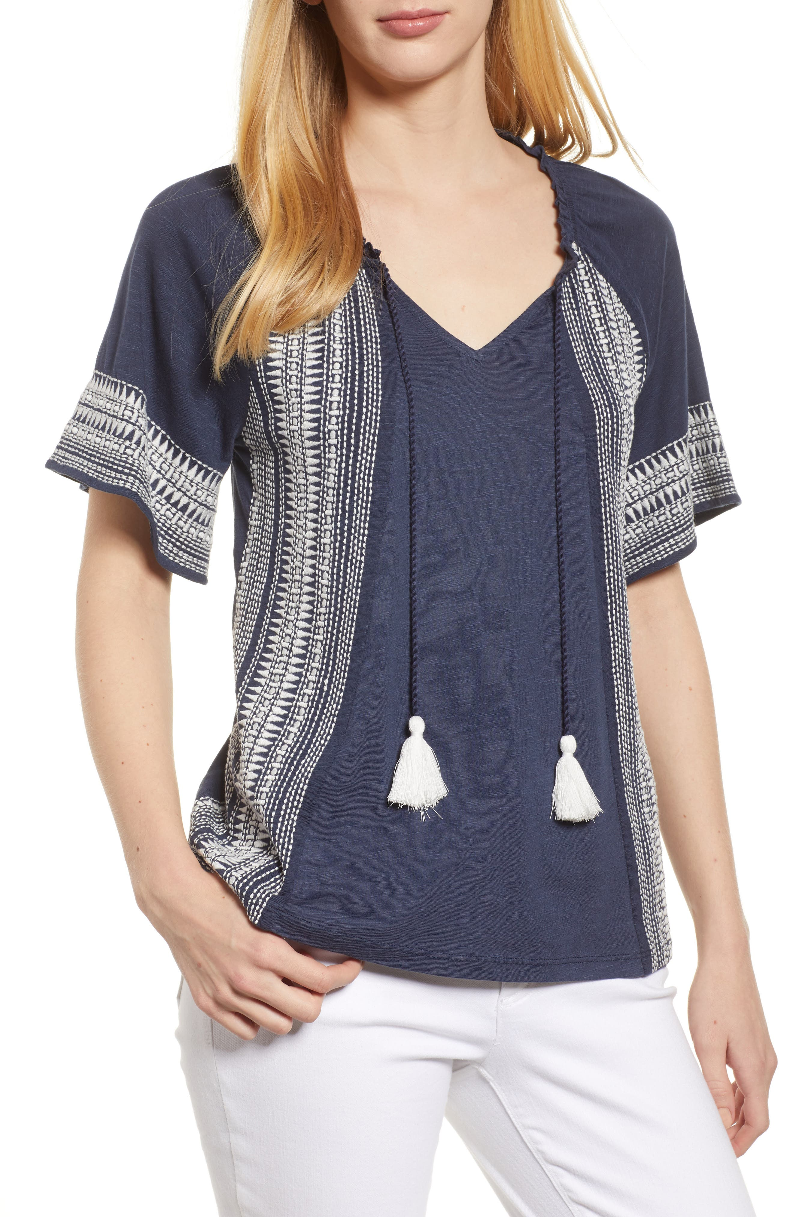 Embroidered Border Peasant Top,                         Main,                         color, Navy- Ivory Dita