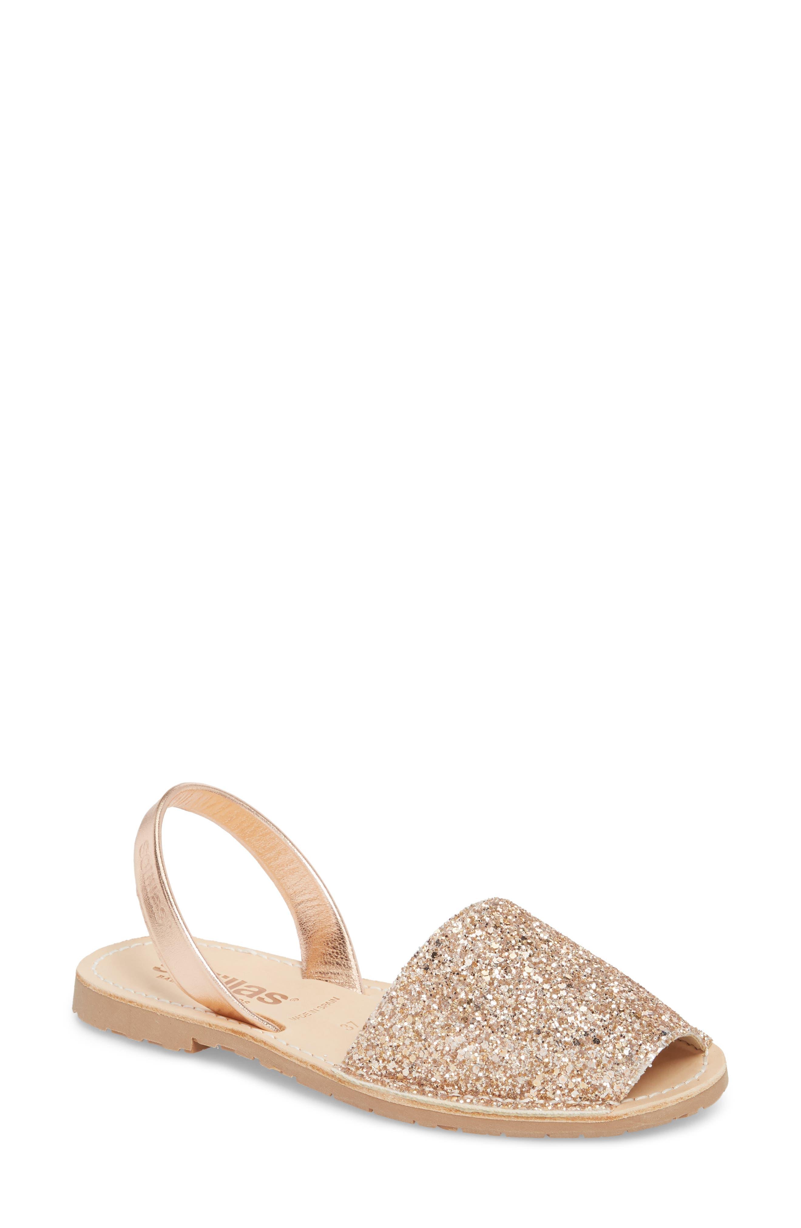 Flat Sandal,                         Main,                         color, Rose Gold Leather