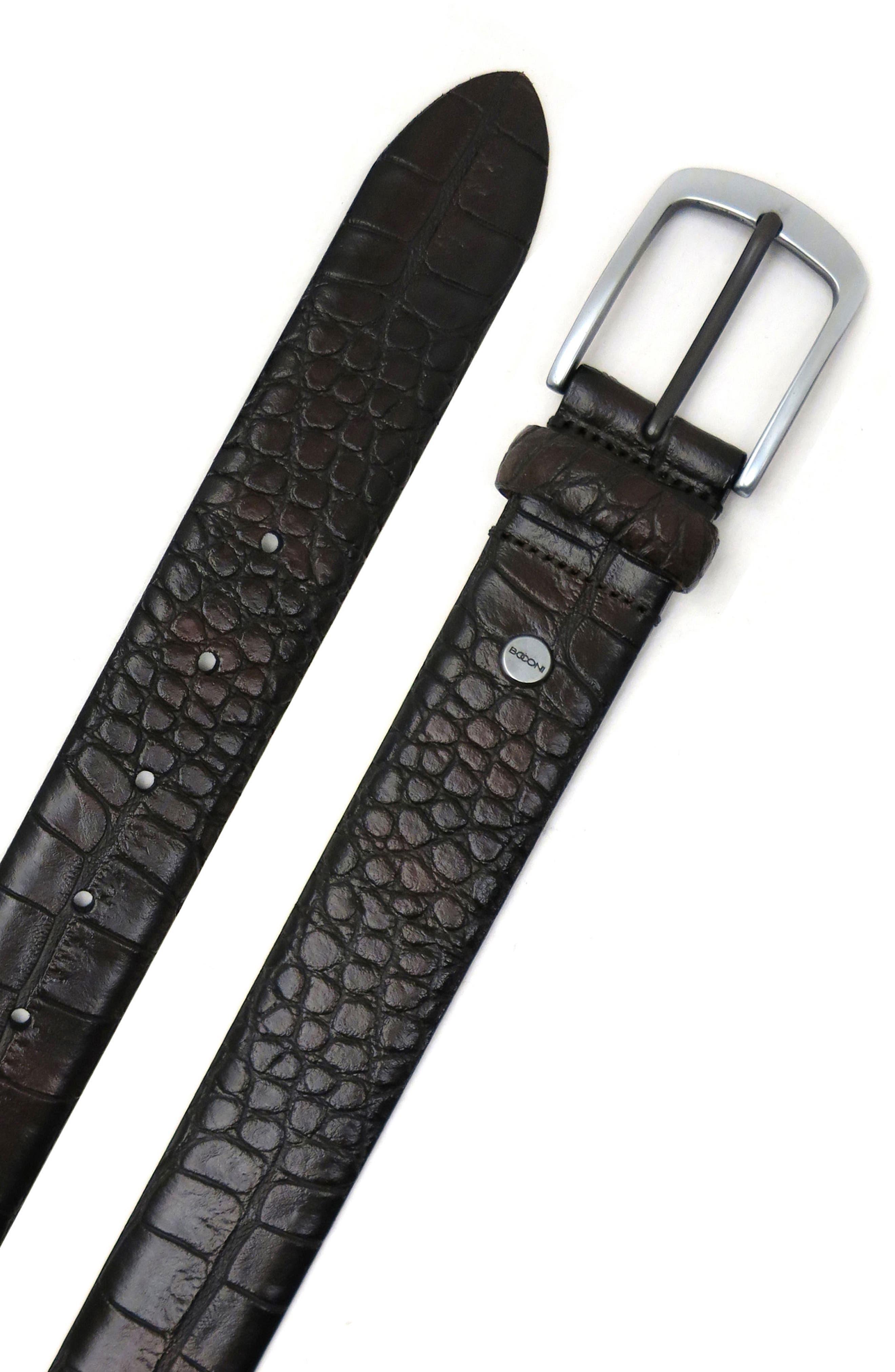 Croc Embossed Leather Belt,                             Alternate thumbnail 3, color,                             Espresso