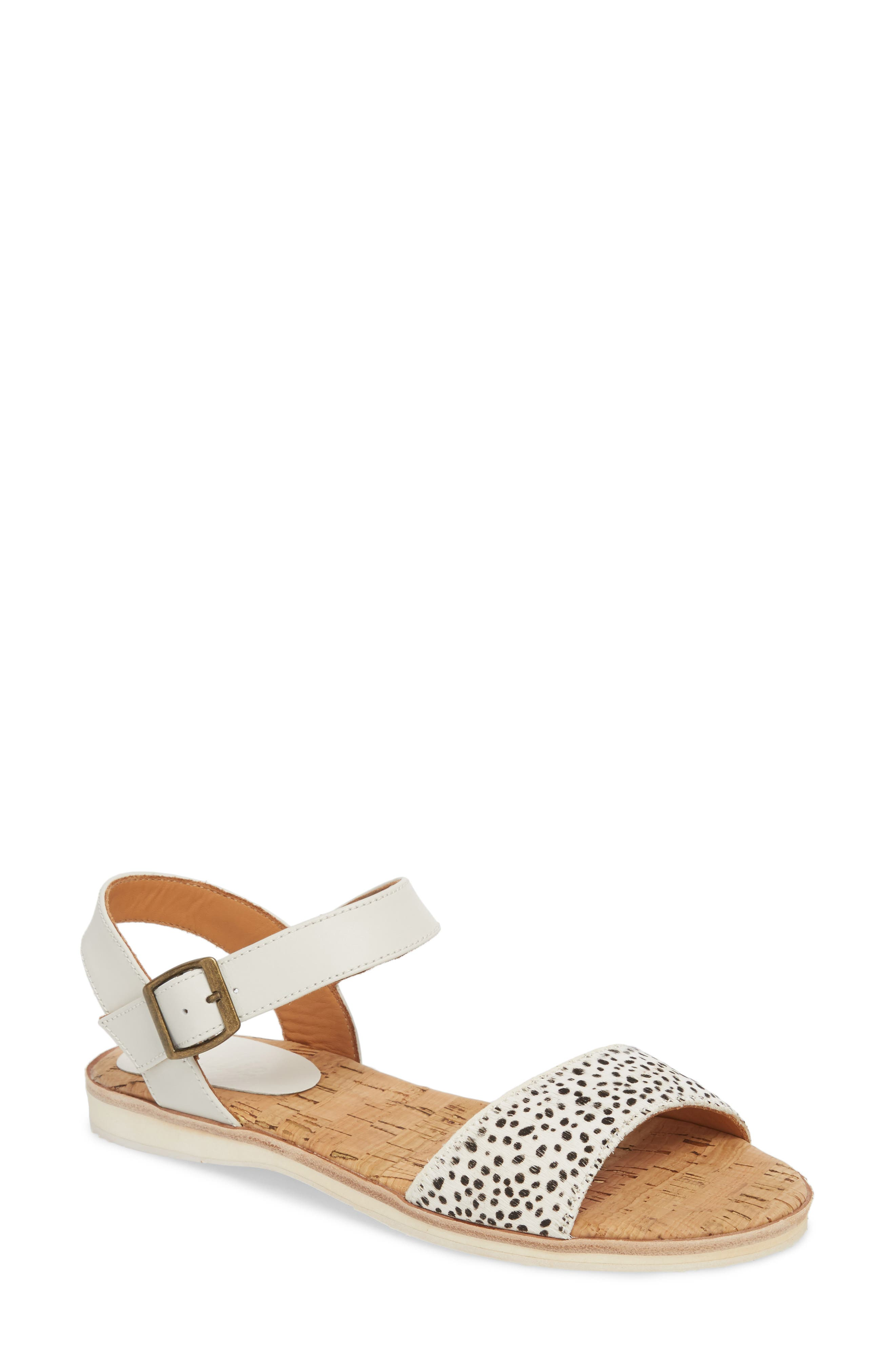 Genuine Calf Hair Sandal,                             Main thumbnail 1, color,                             Snow Leopard/ White Leather