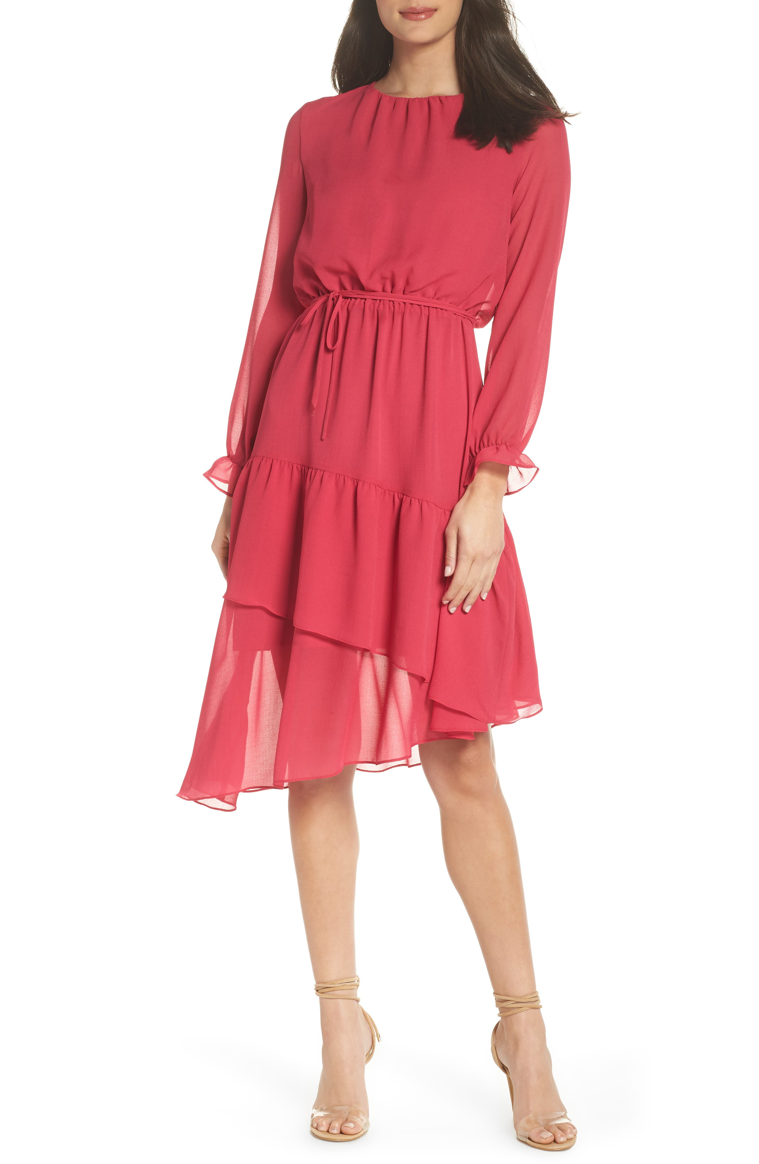 Hadley Asymmetric Chiffon Dress, Fuchsia