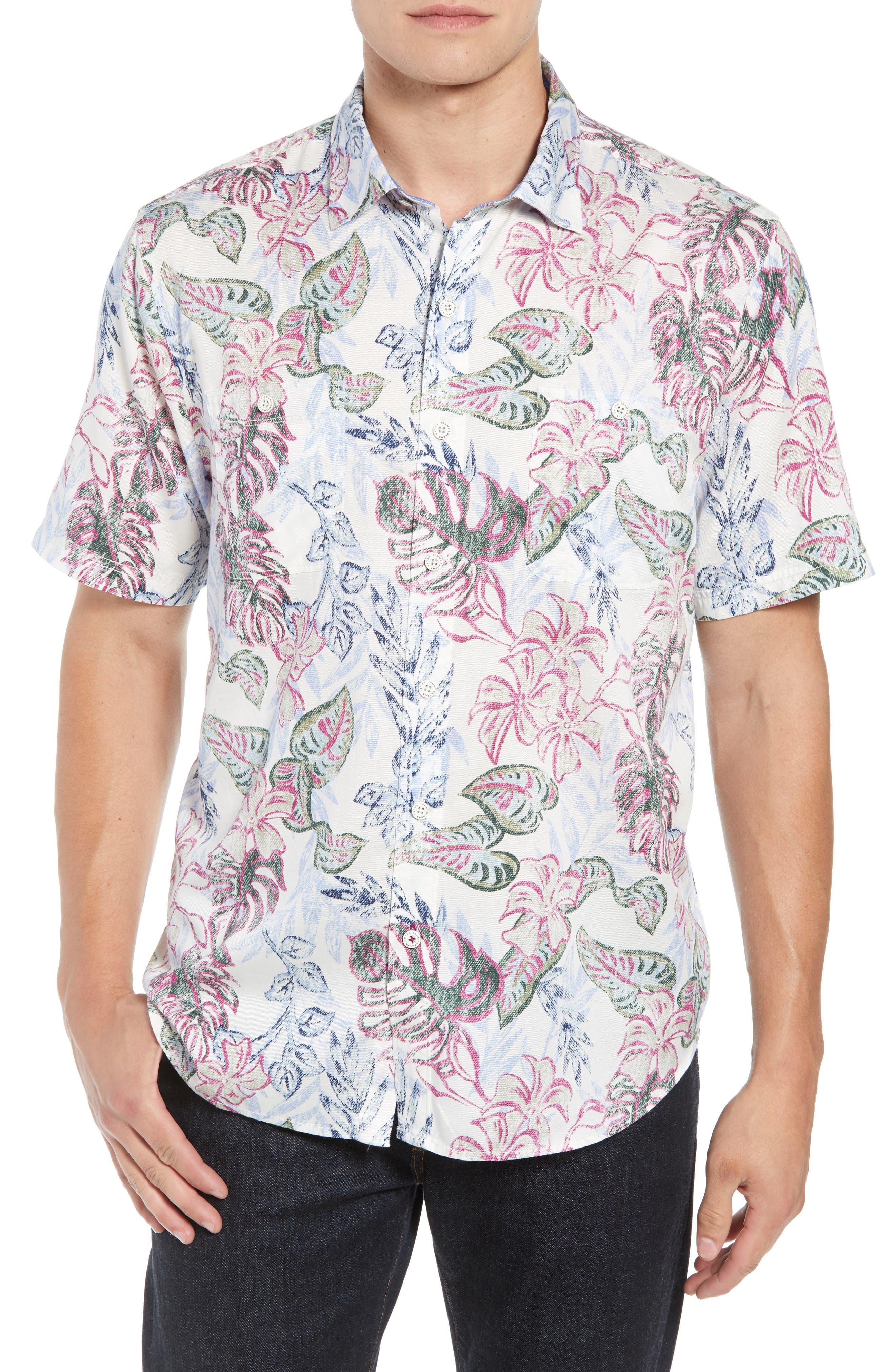 Diego Fronds Jacquard Short Shirt,                             Main thumbnail 1, color,                             Deep Morel