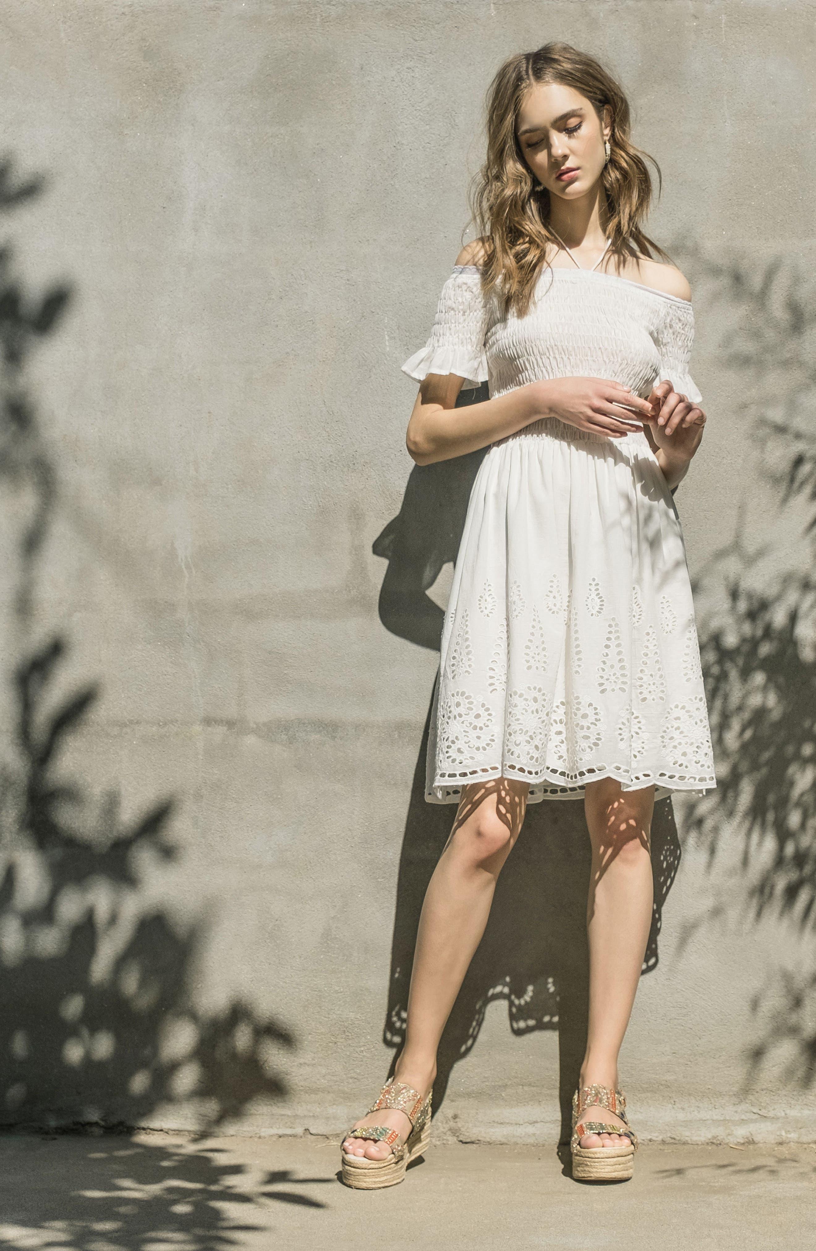 Smocked Off the Shoulder Dress,                             Alternate thumbnail 8, color,                             White Eyelet