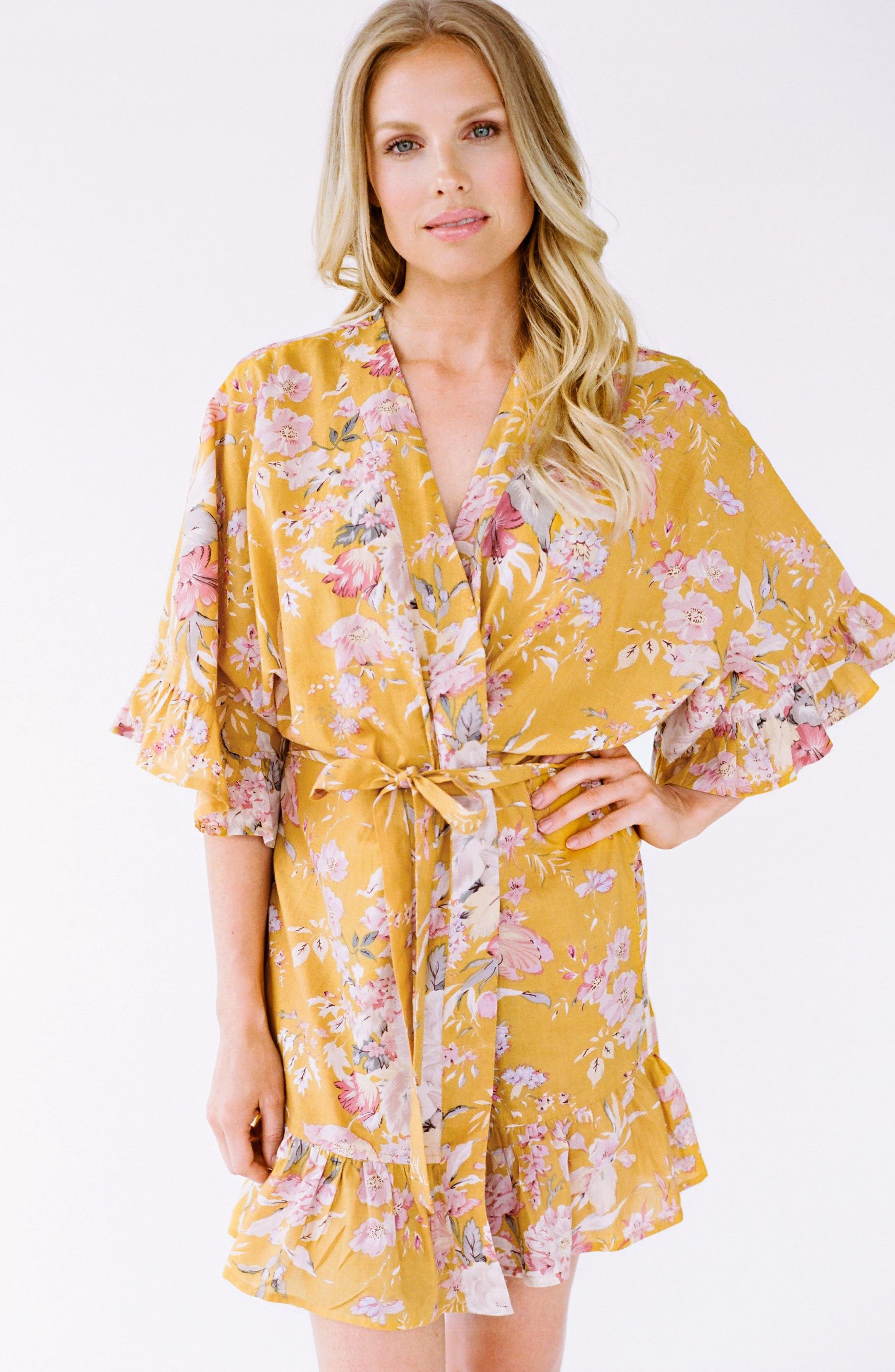 Flutter Robe,                             Alternate thumbnail 3, color,                             Marigold