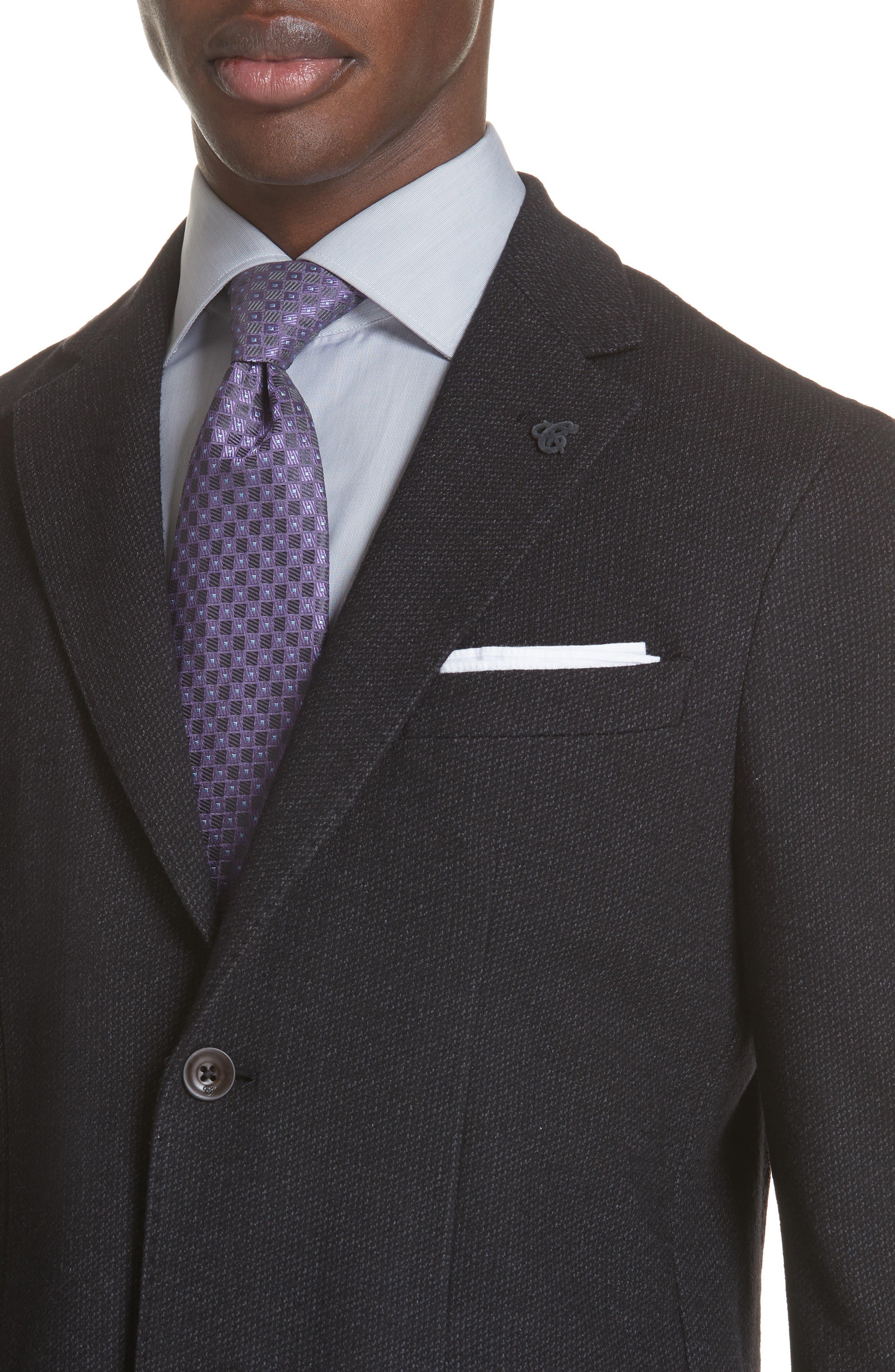 Slim Fit Wool & Cotton Blazer,                             Alternate thumbnail 4, color,                             Grey