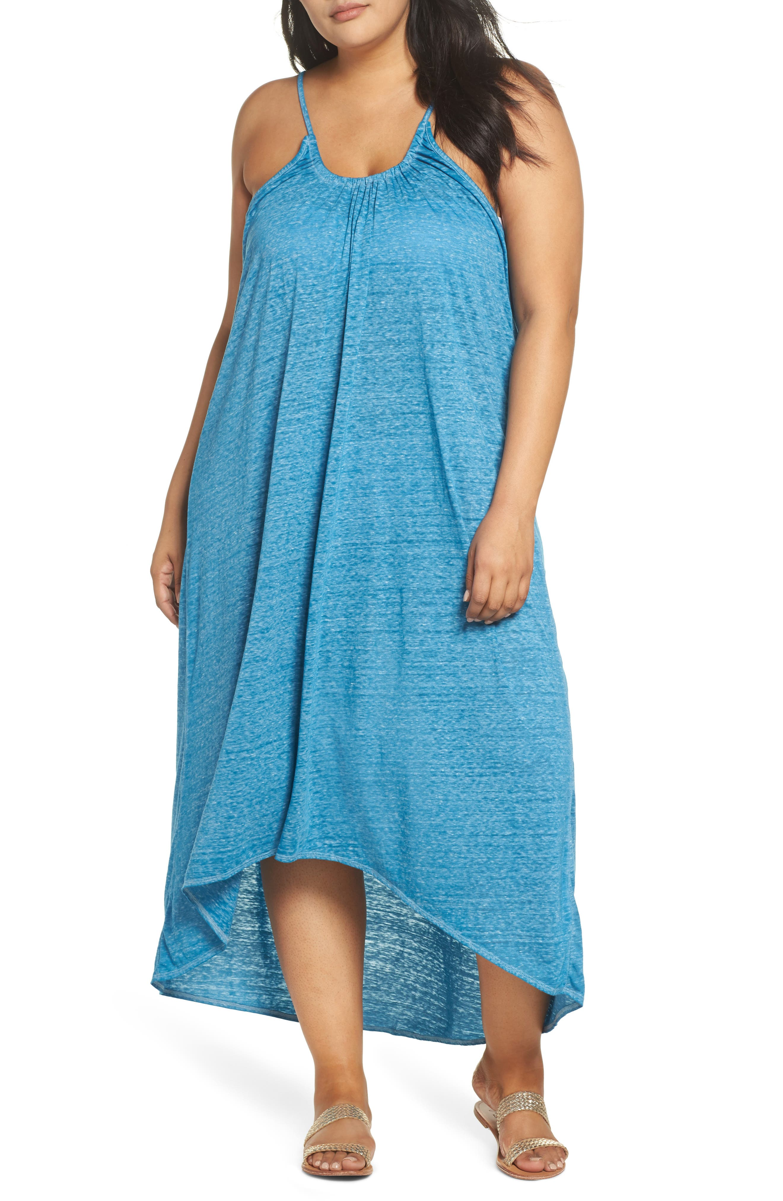 Maxi Cover-Up Dress,                         Main,                         color, Teal Turkish