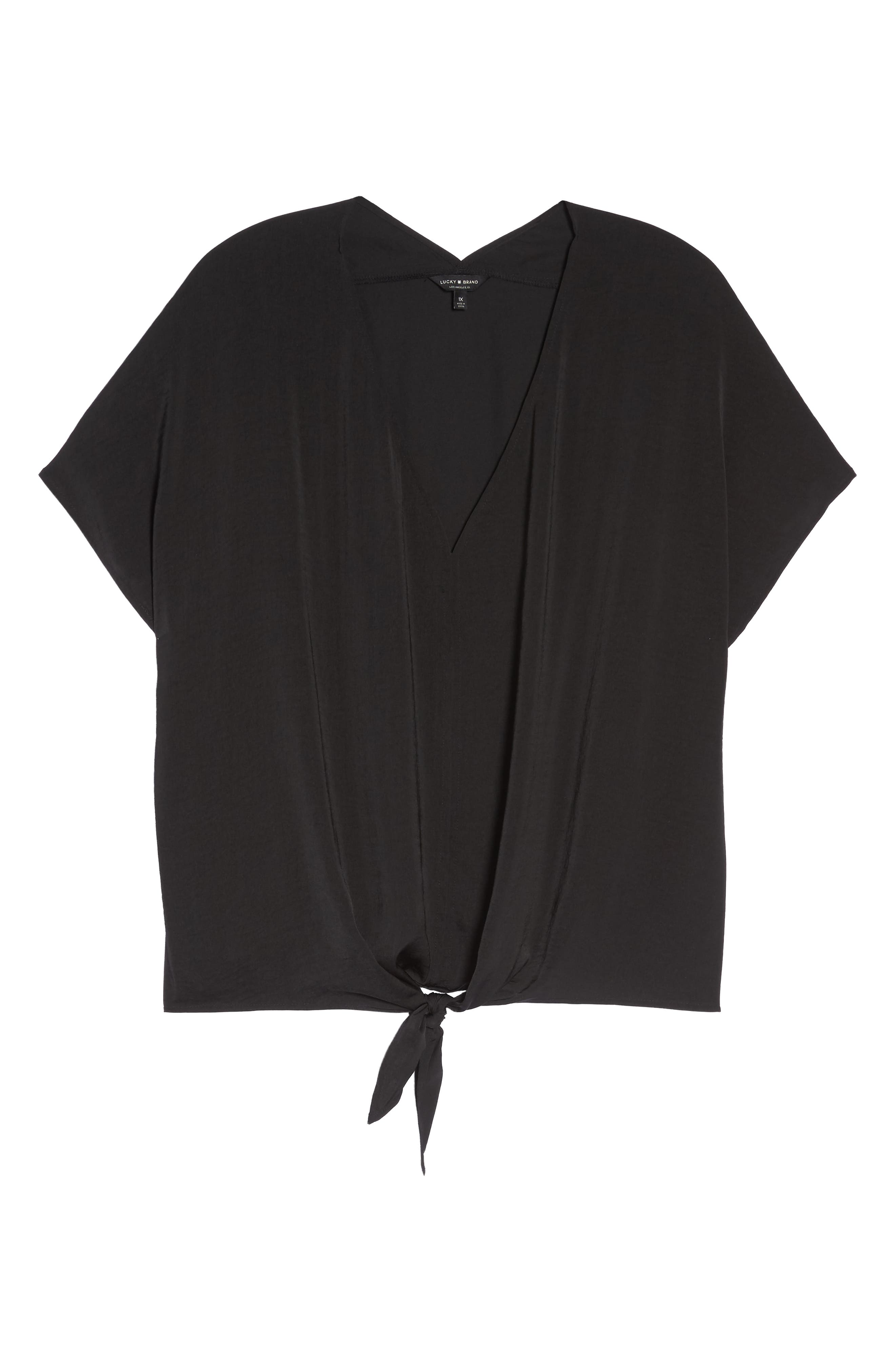 Tie Front Satin Top,                             Alternate thumbnail 7, color,                             Lucky Black