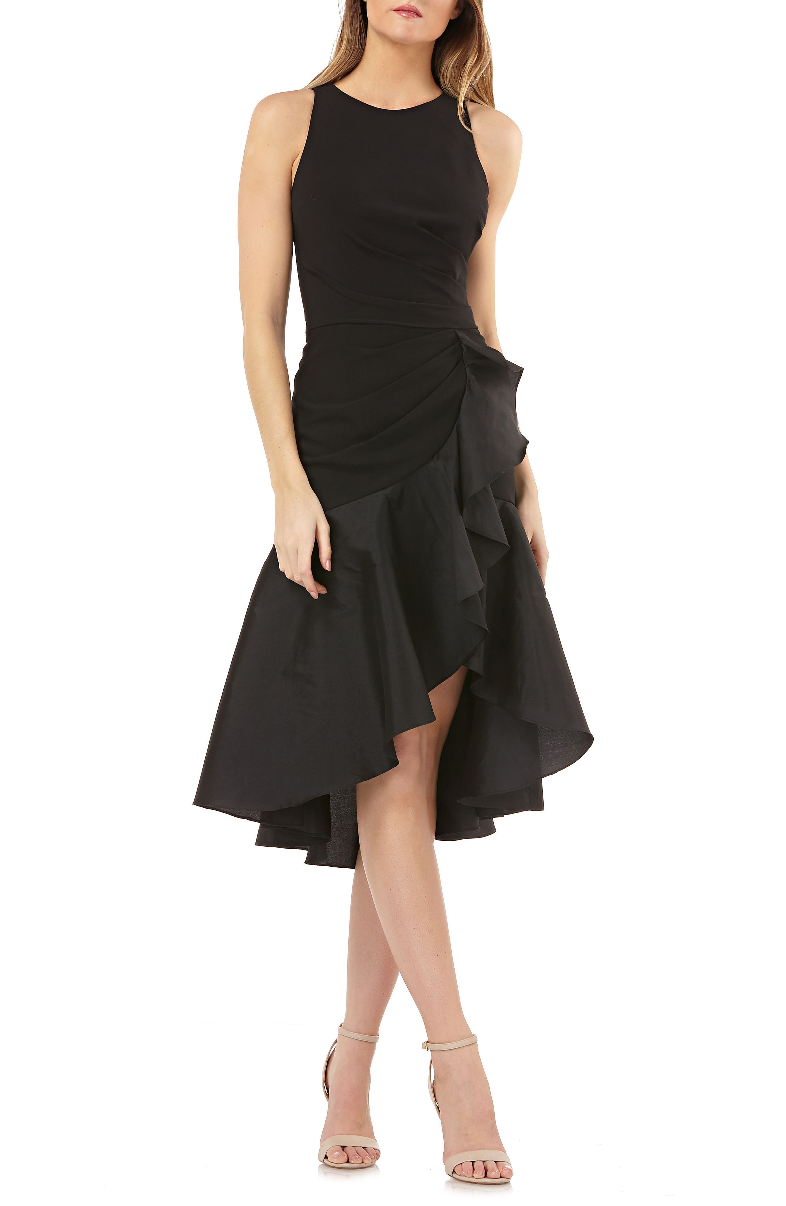 Crepe Contrast Ruffle Cocktail Dress,                         Main,                         color, Black
