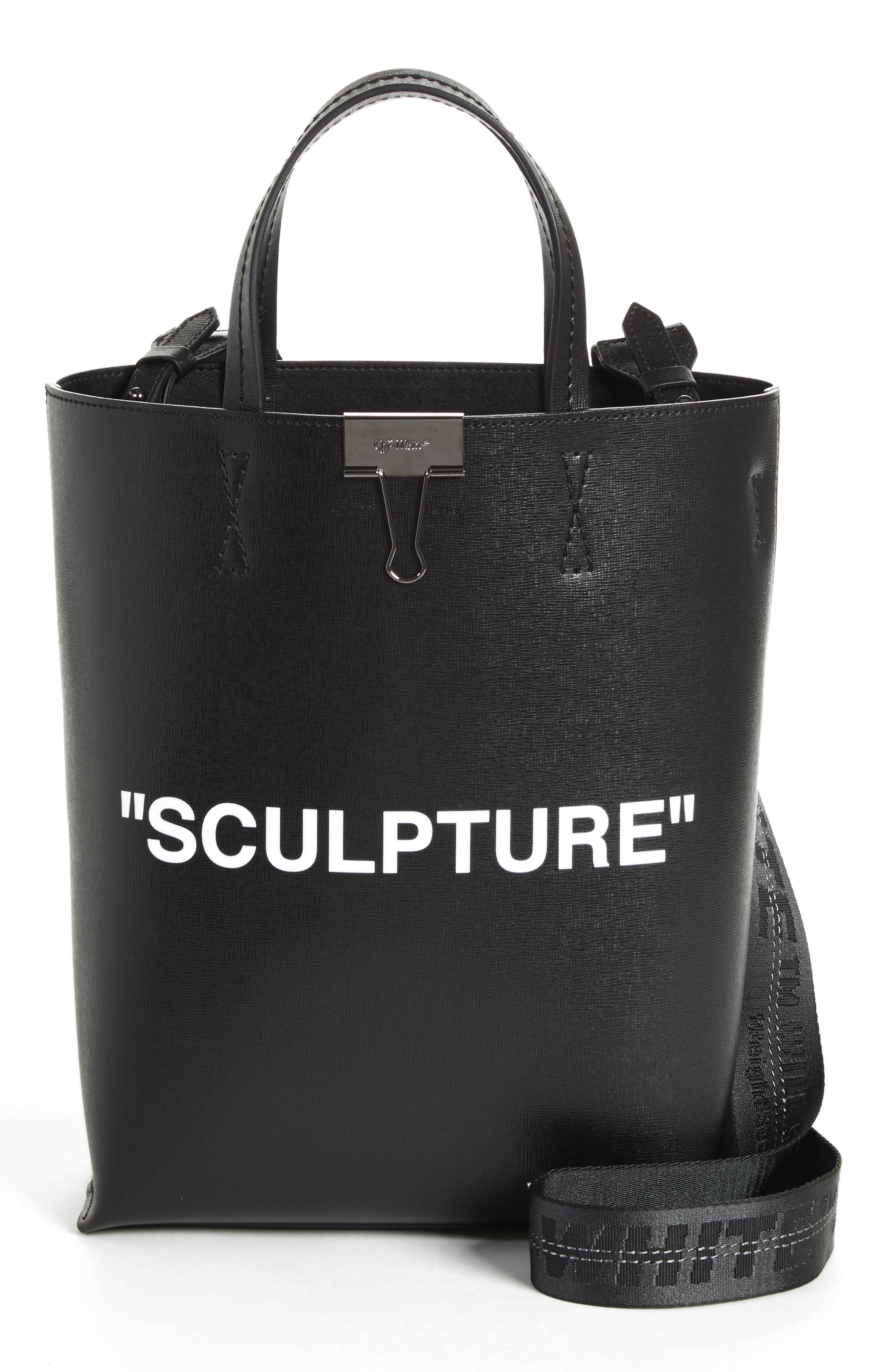 Medium New Sculpture Leather Tote,                         Main,                         color, Black White