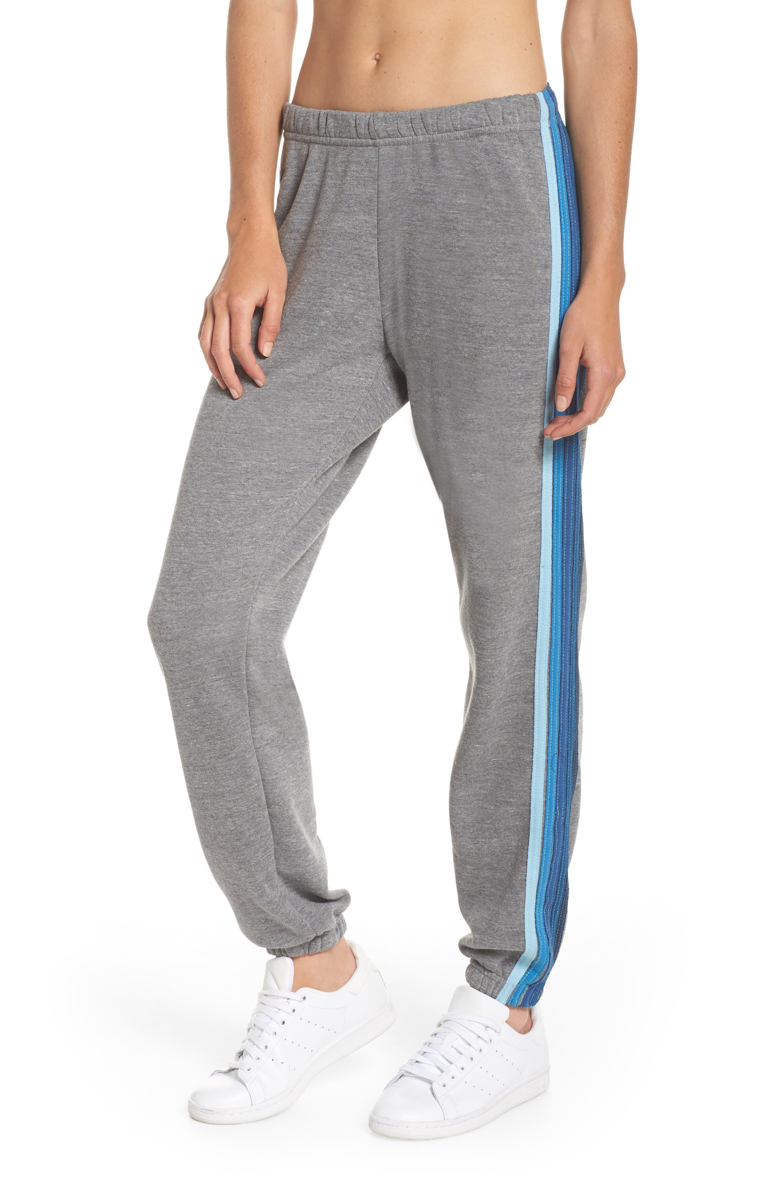 Stripe Sweatpants,                             Main thumbnail 1, color,                             Heather Grey/ Blue Stripes