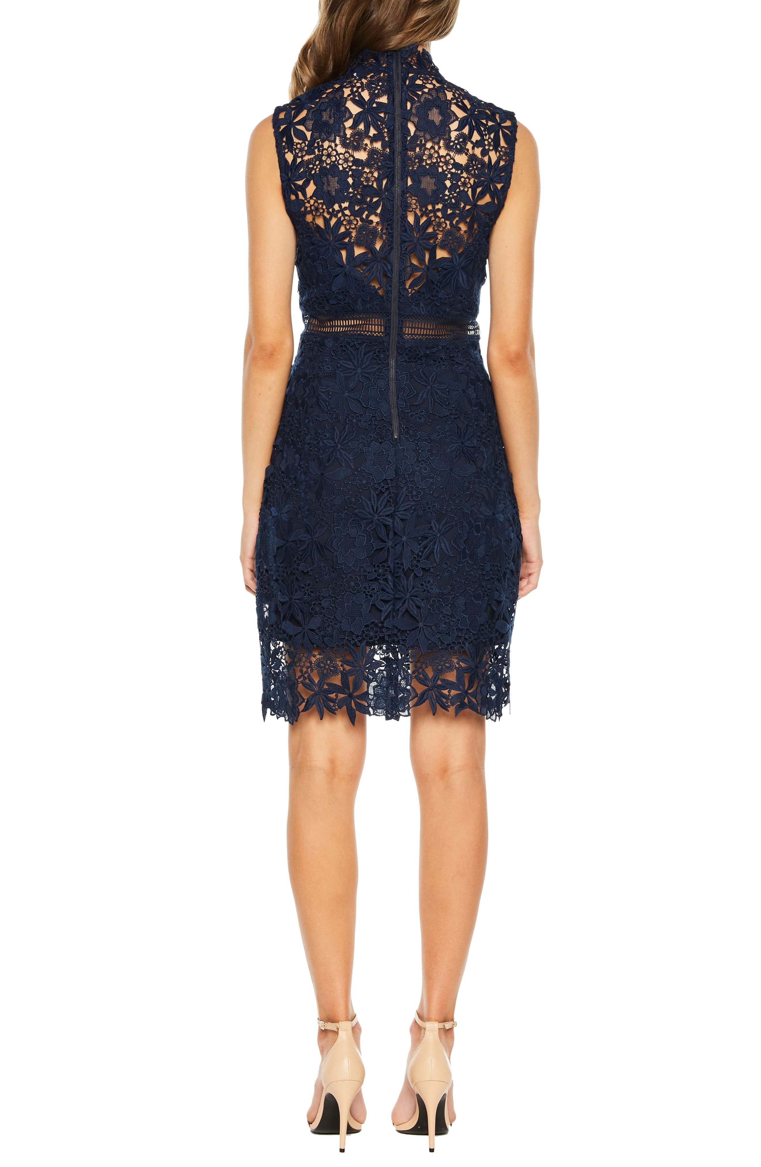 Paris Lace Body-Con Dress,                             Alternate thumbnail 2, color,                             Twilight