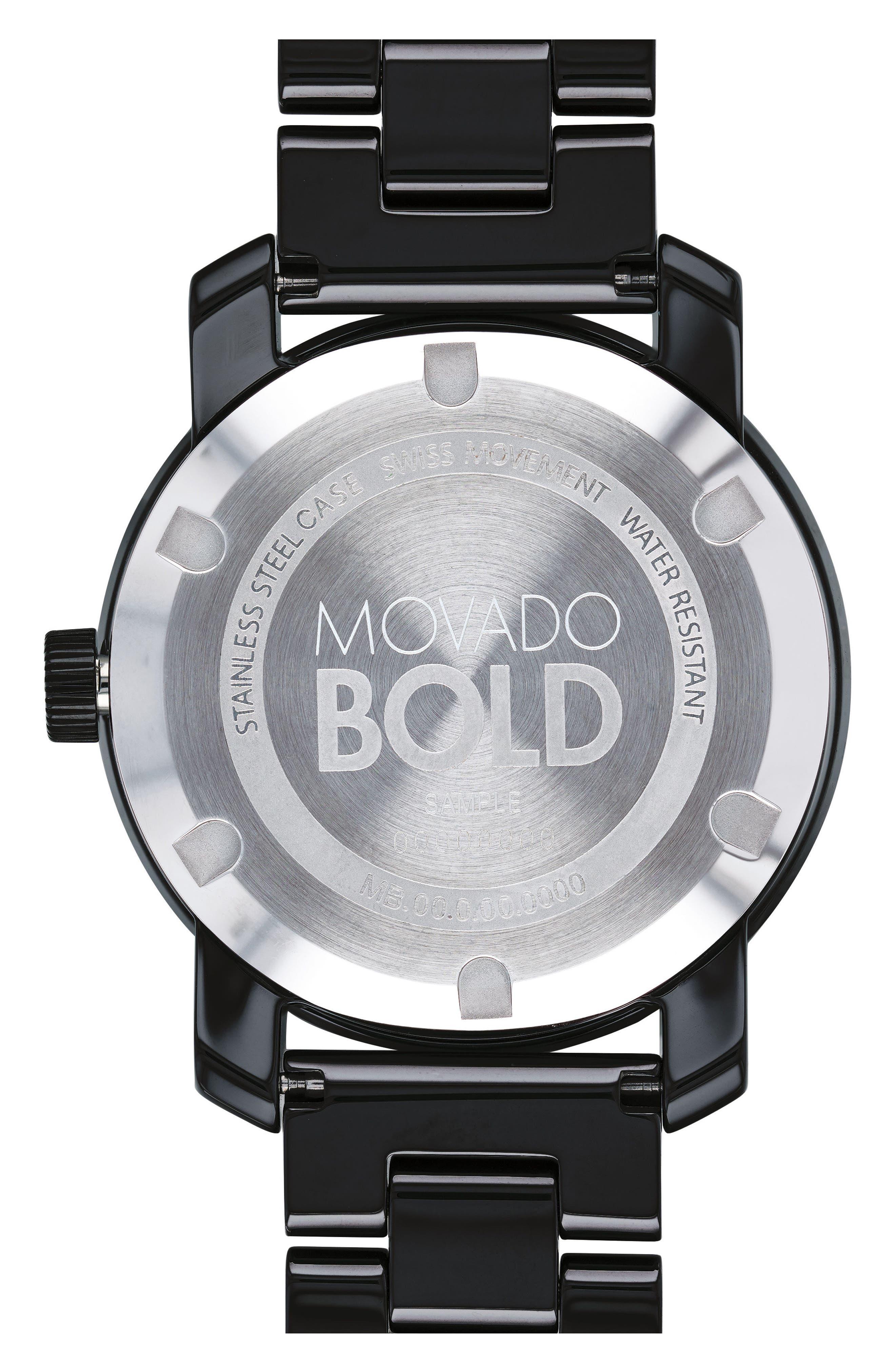 Bold Ceramic Bracelet Watch, 36mm,                             Alternate thumbnail 2, color,                             Black