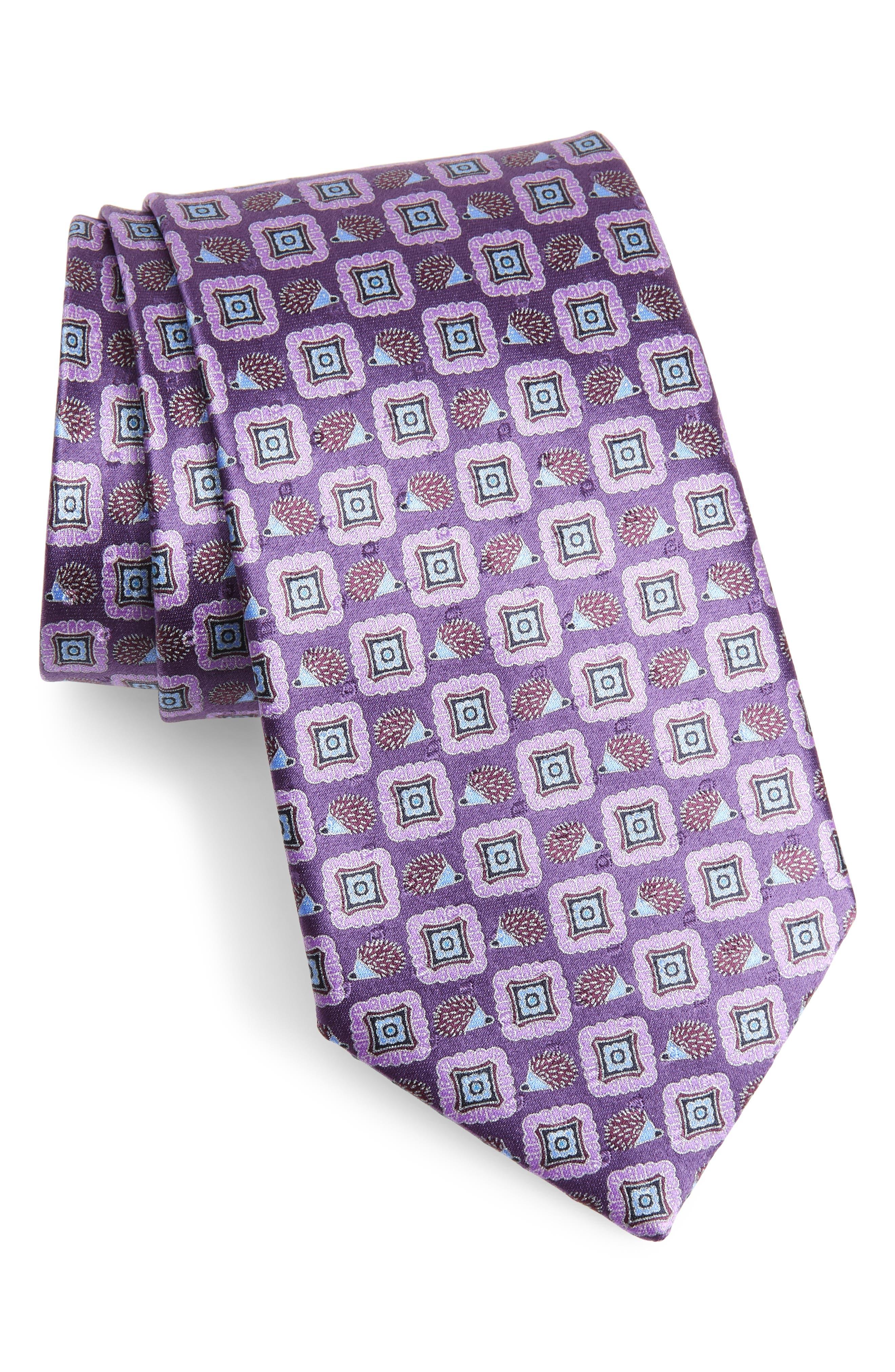 Medallion Silk Tie,                             Main thumbnail 1, color,                             Purple