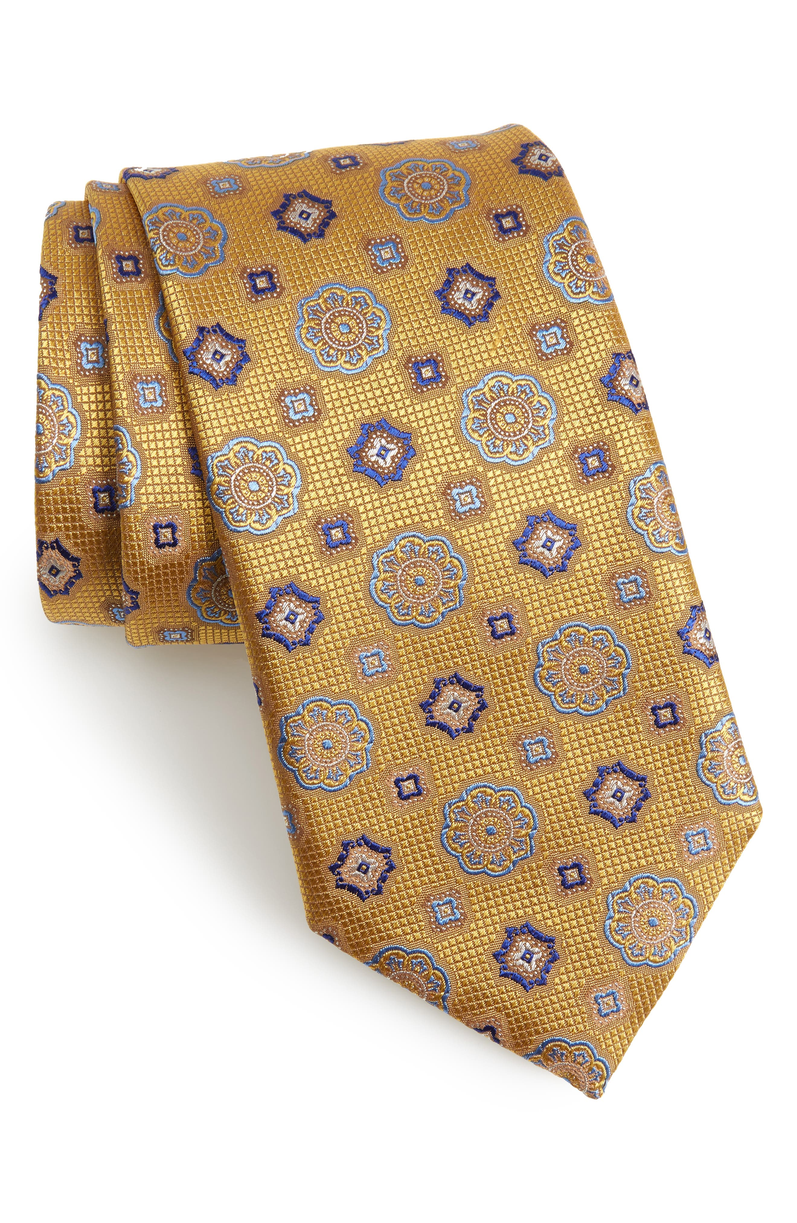 Medallion Silk Tie,                             Main thumbnail 1, color,                             Yellow