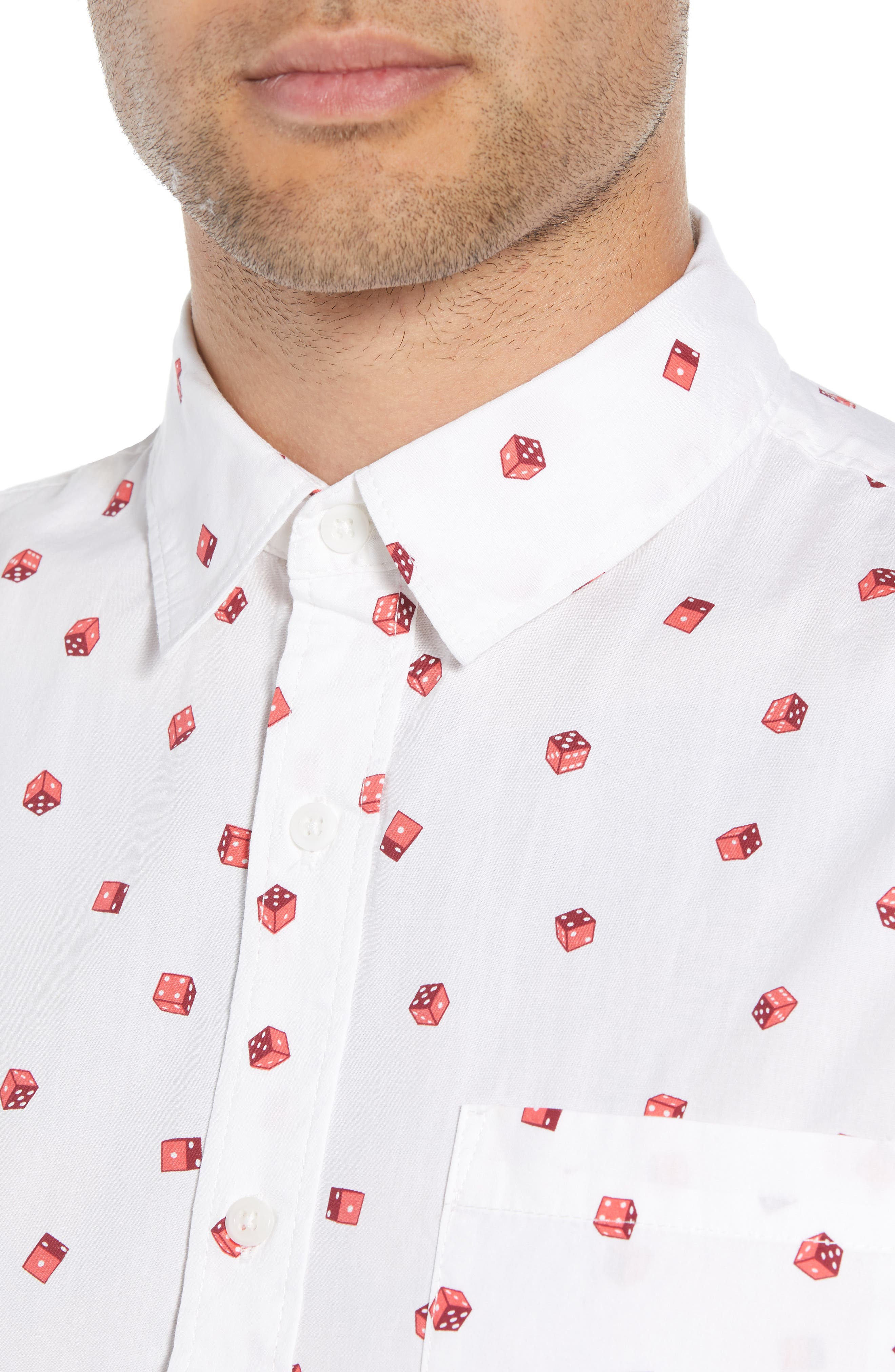Print Camp Shirt,                             Alternate thumbnail 3, color,                             White / Red Rumba No Dice