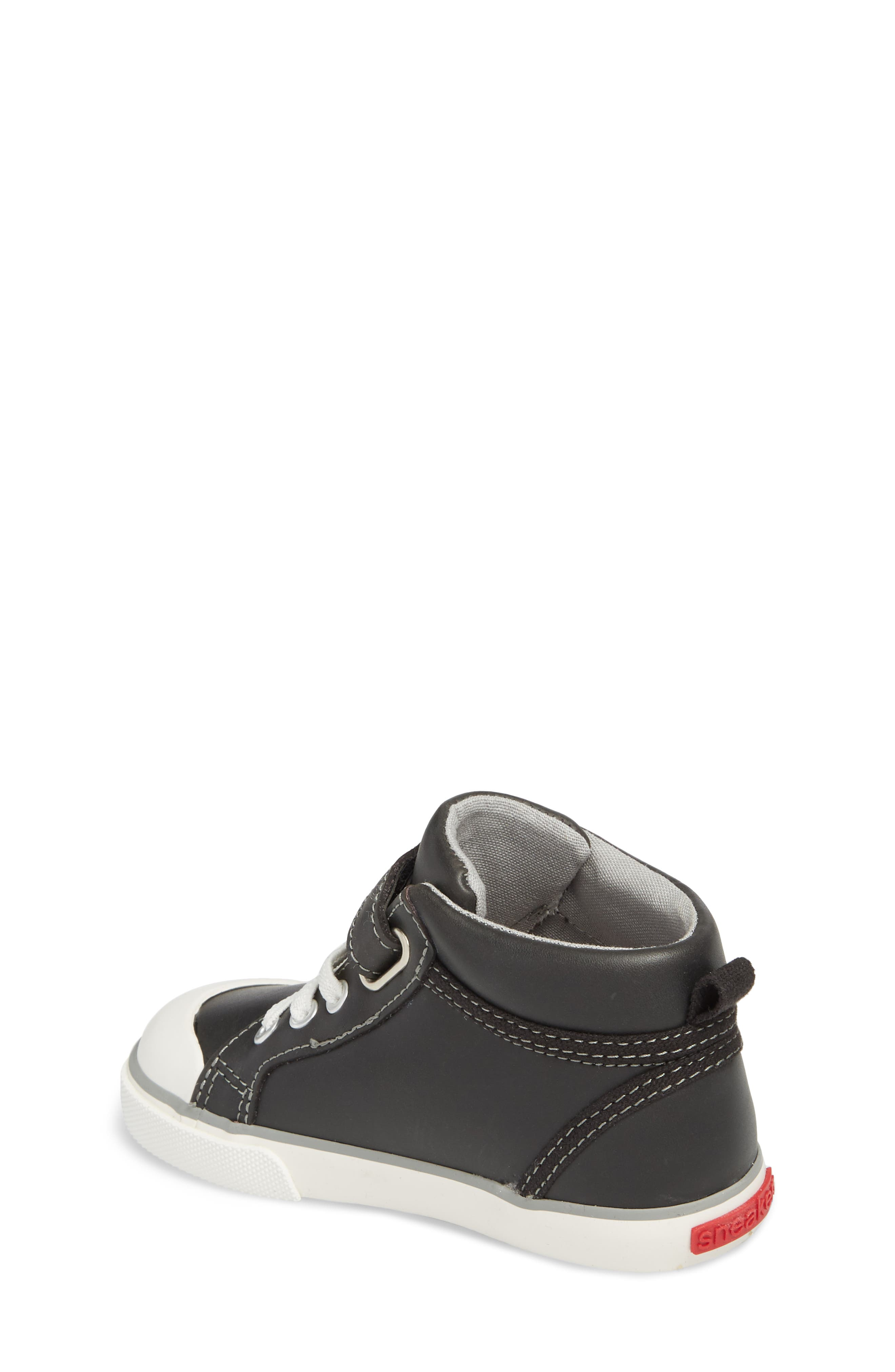 'Peyton' High Top Sneaker,                             Alternate thumbnail 2, color,                             Black Leather