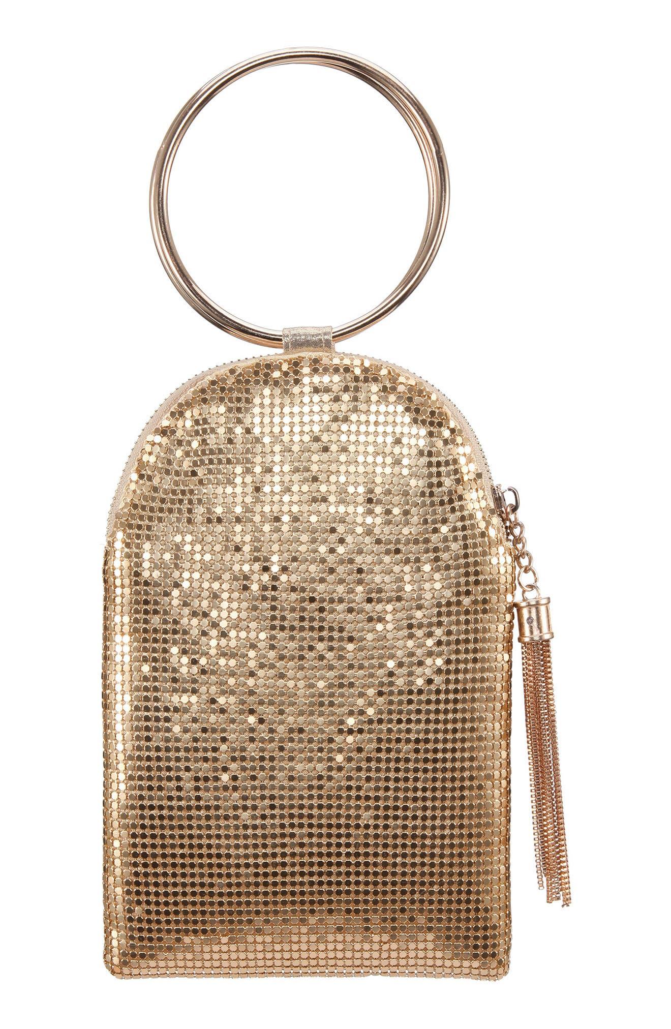 Metallic Mesh Handbag - Metallic, Gold