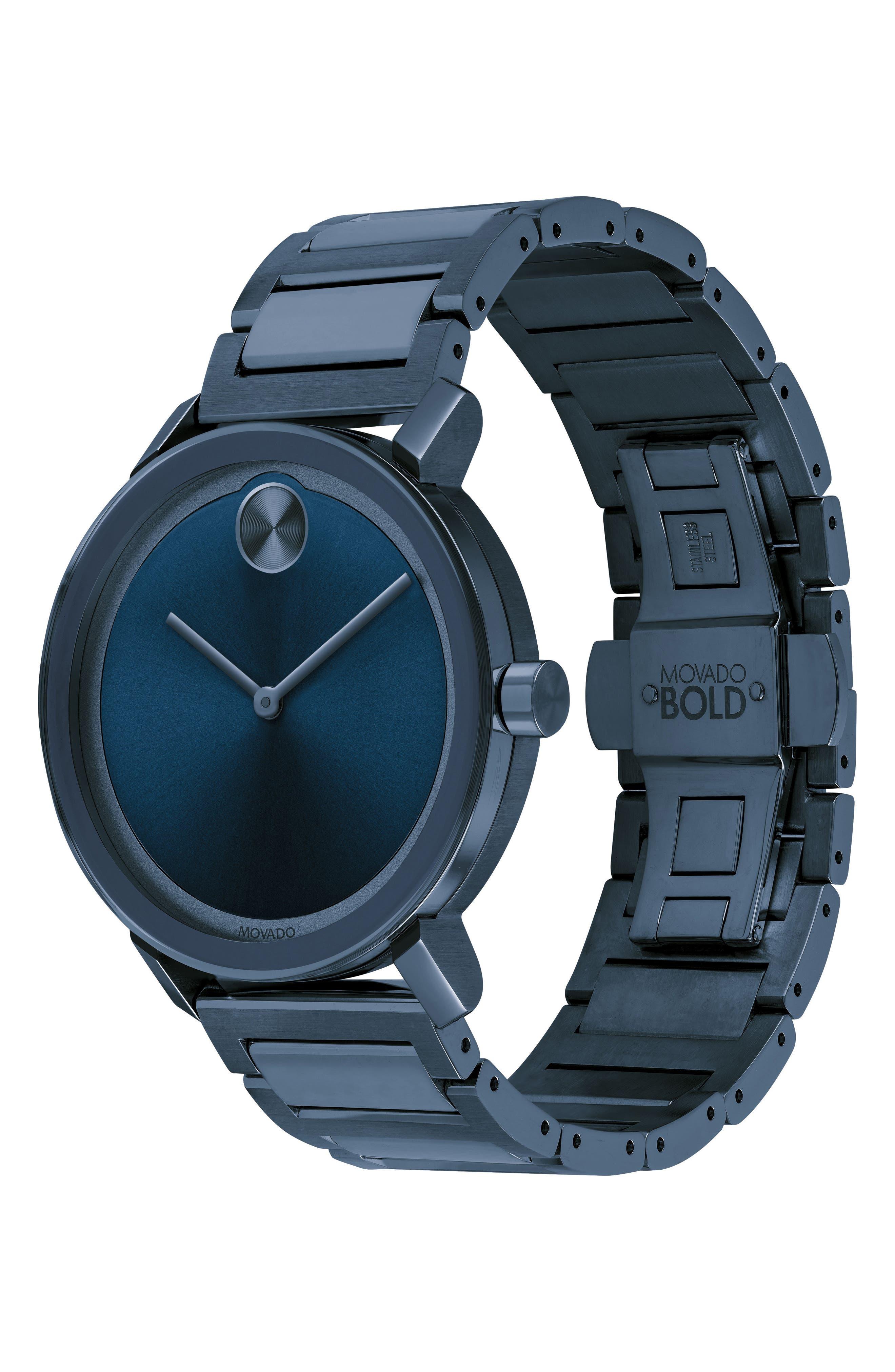 Bold Bracelet Watch, 40mm,                             Alternate thumbnail 3, color,                             Blue
