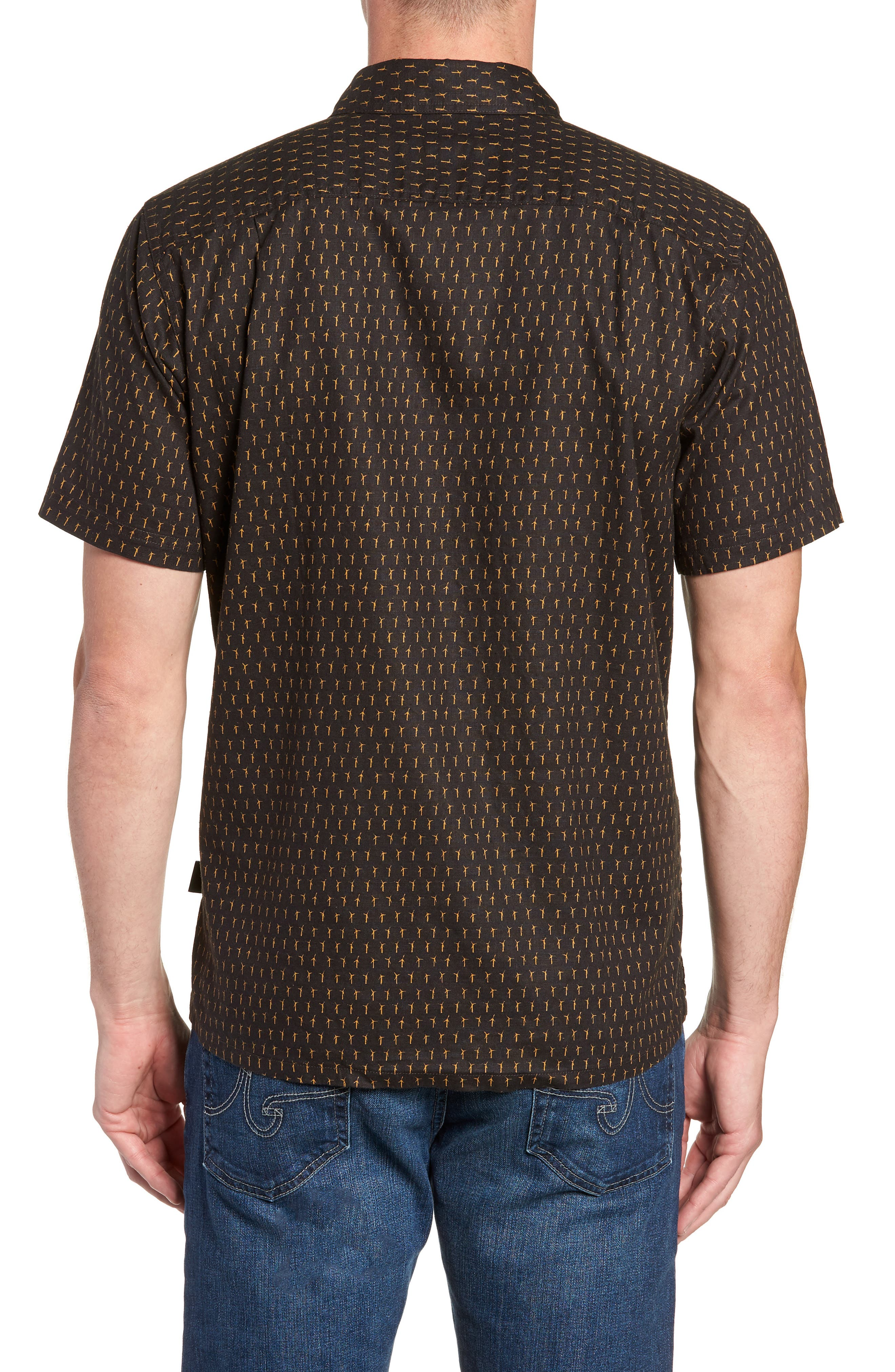 'Back Step' Regular Fit Check Short Sleeve Sport Shirt,                             Alternate thumbnail 2, color,                             Windmills/ Ink Black