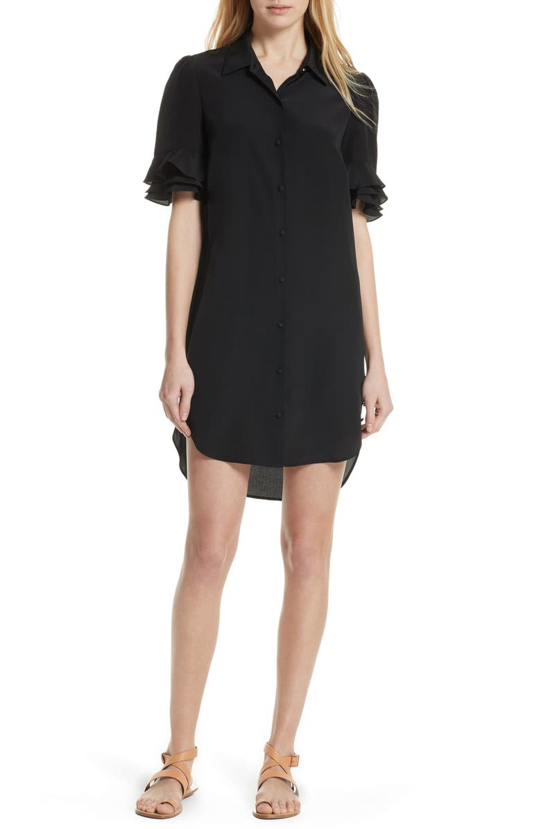 Ruffle Sleeve Silk Dress