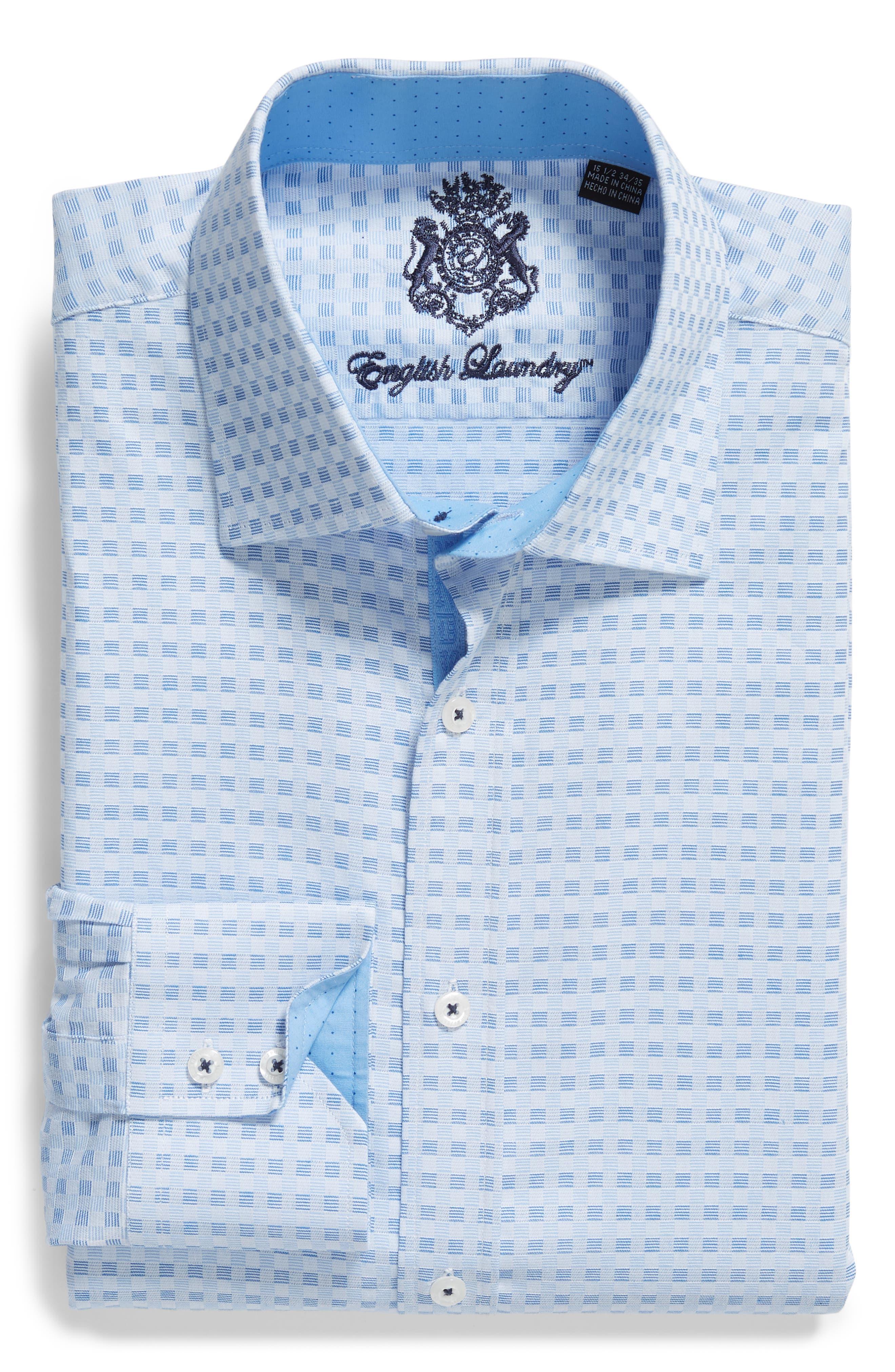 Check Regular Fit Dress Shirt,                             Alternate thumbnail 6, color,                             Blue