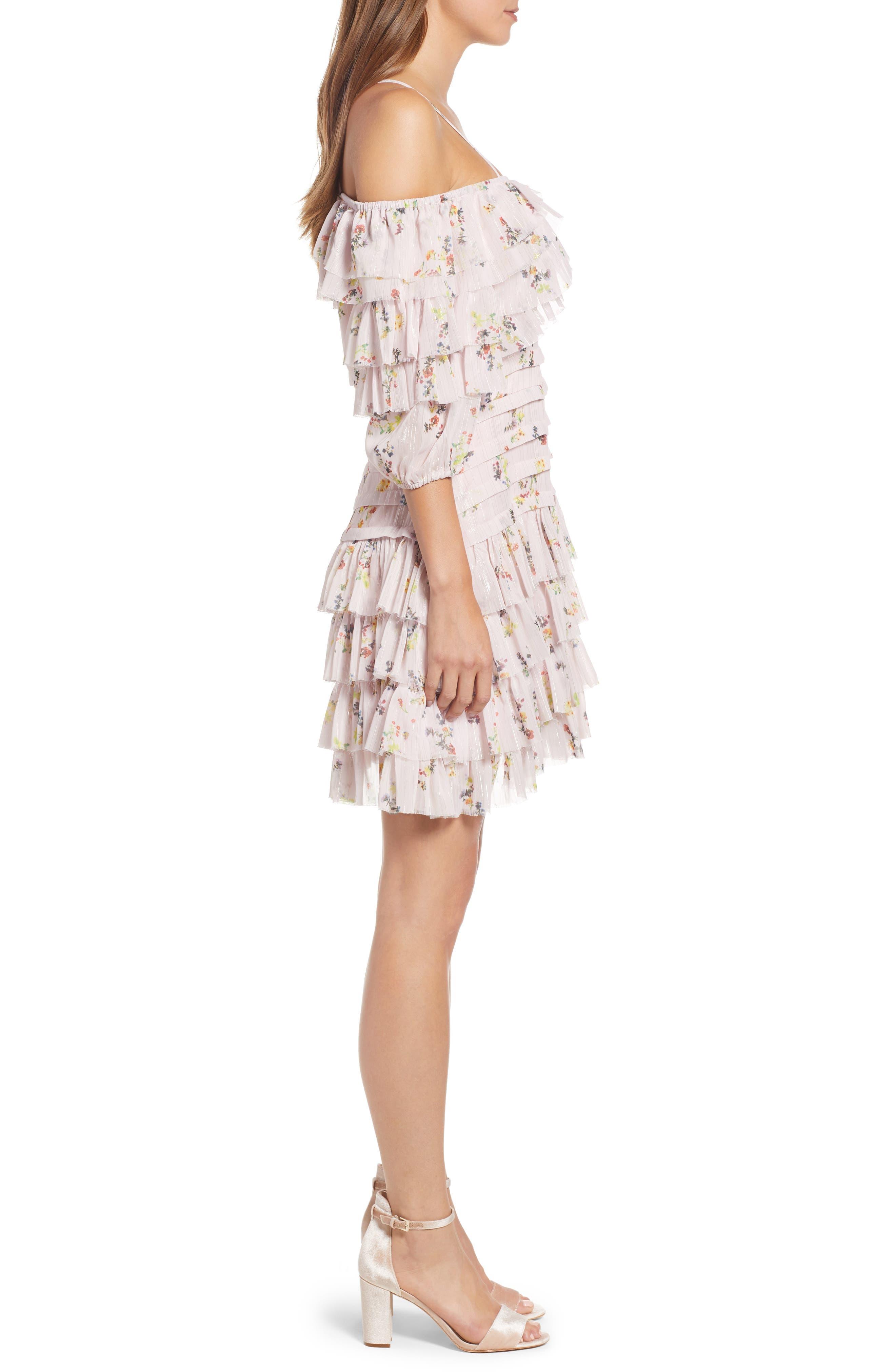 Mina Ruffled Cold Shoulder Dress,                             Alternate thumbnail 3, color,                             Multi