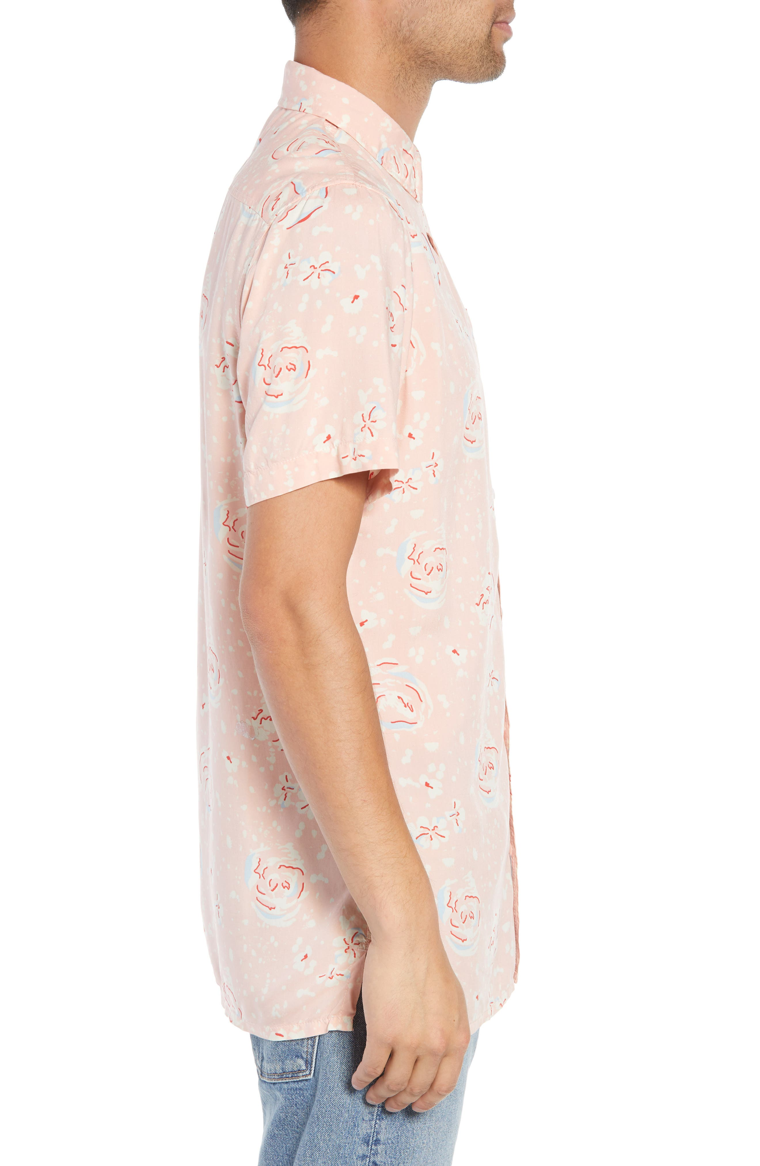 Print Woven Shirt,                             Alternate thumbnail 4, color,                             Pink Silver Abstract Floral