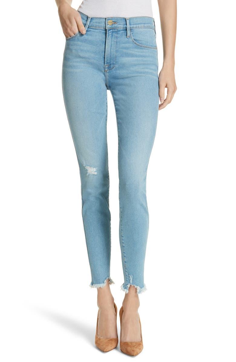Le Skinny de Jeanne High Waist Raw Hem Jeans