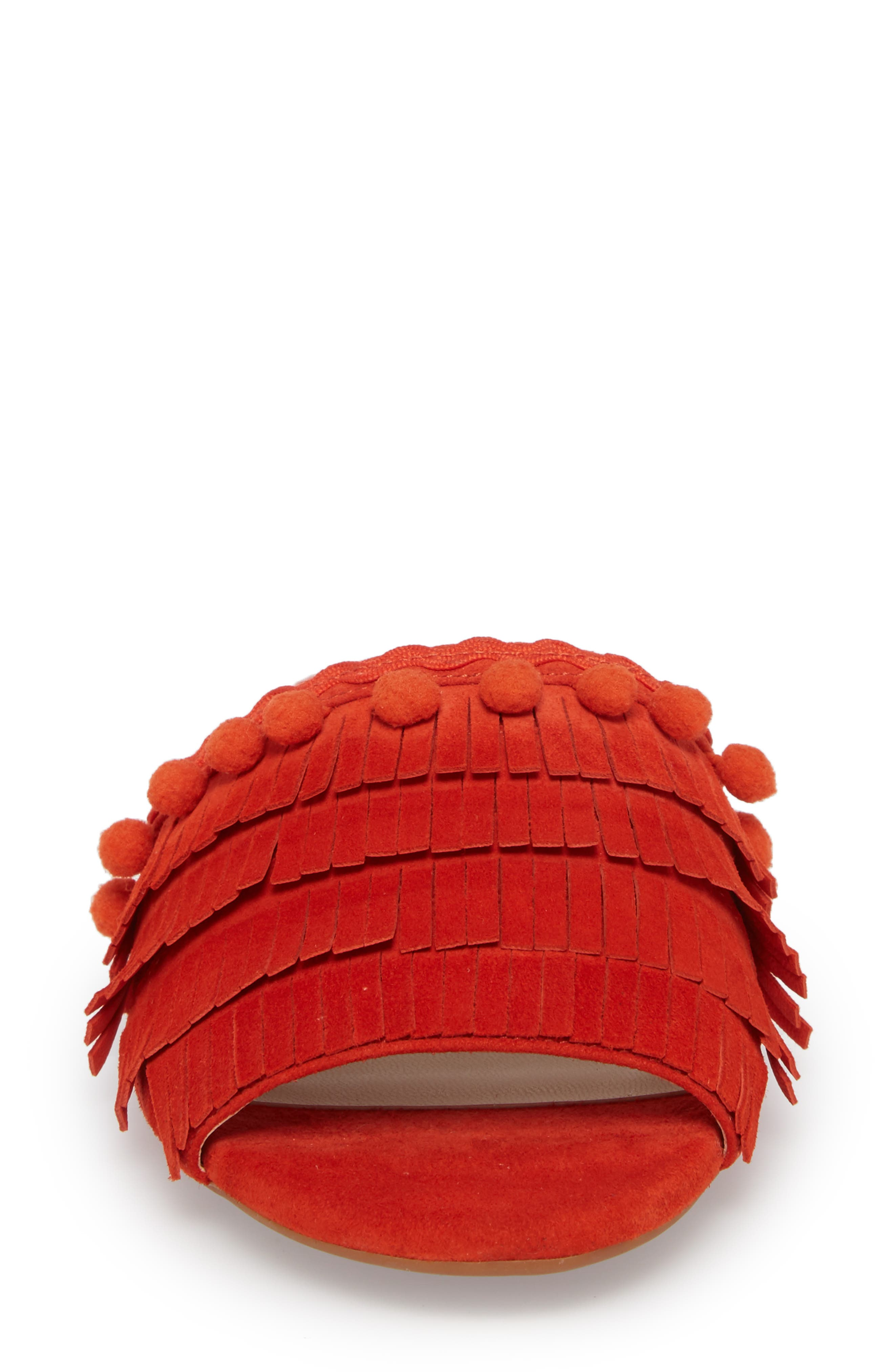Malina Mule,                             Alternate thumbnail 4, color,                             Bright Coral Suede
