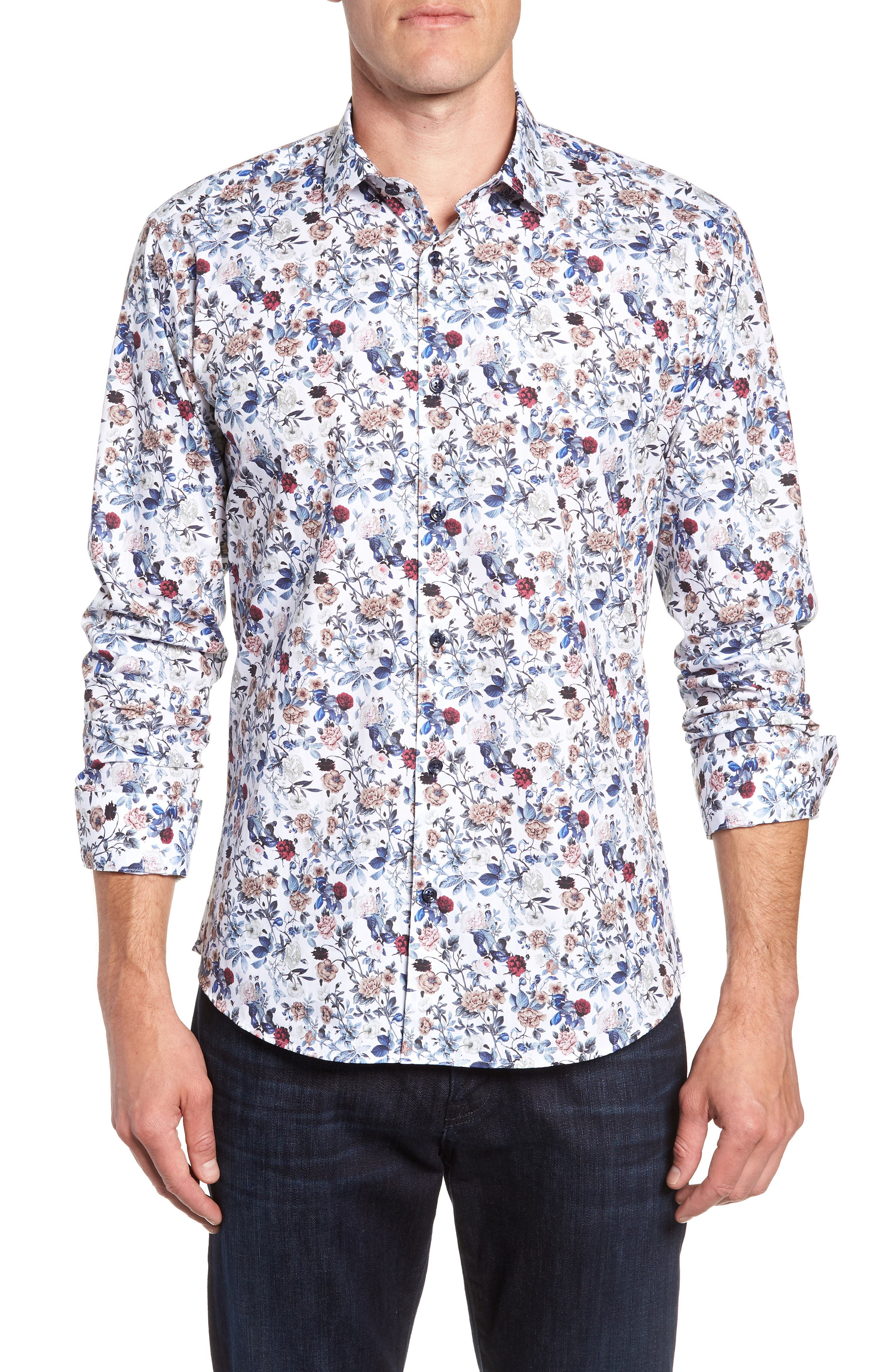 Floral Sport Shirt,                         Main,                         color, White Navy Print