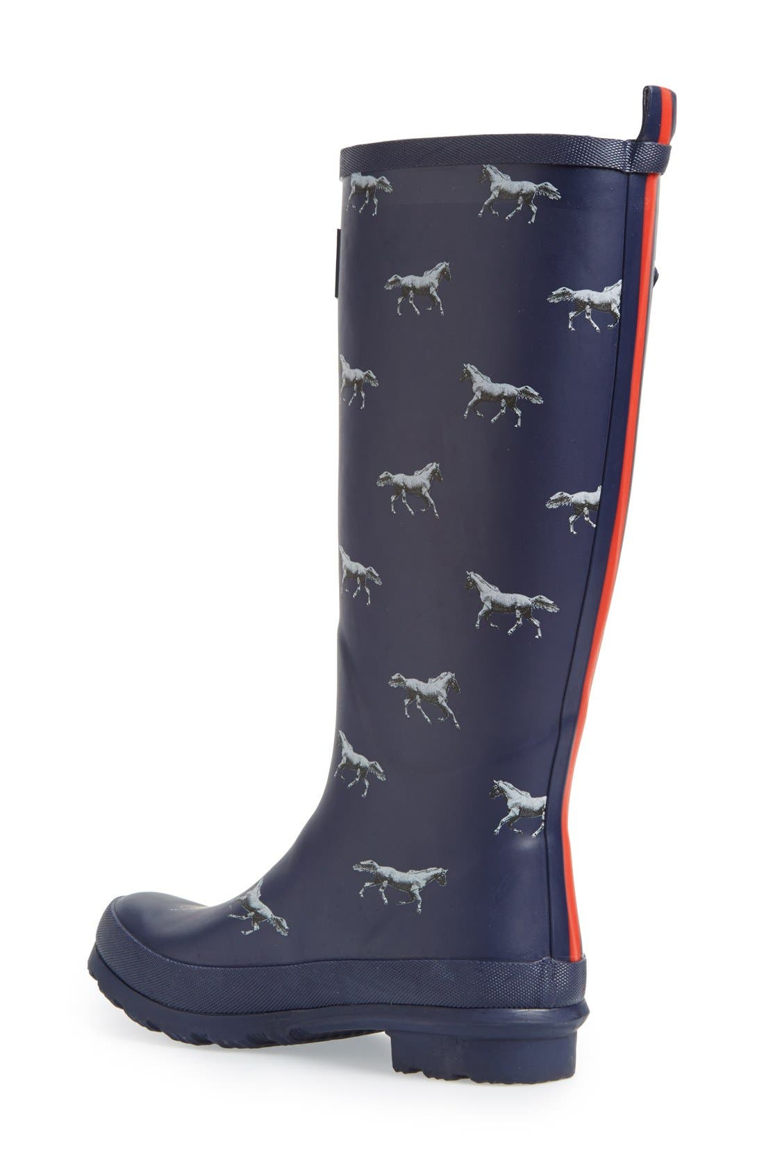 Print Welly Rain Boot,                             Alternate thumbnail 2, color,                             Navy Horse
