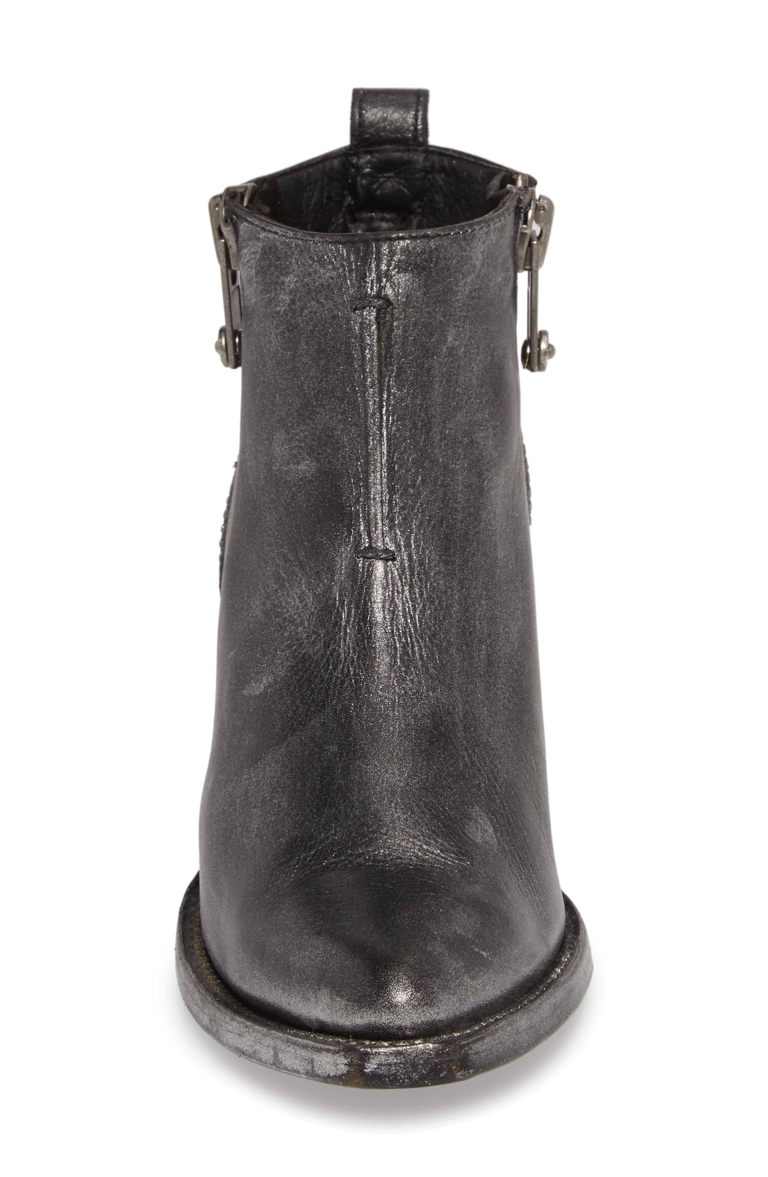 Sacha Moto Short Bootie,                             Alternate thumbnail 5, color,                             Black Metallic Leather