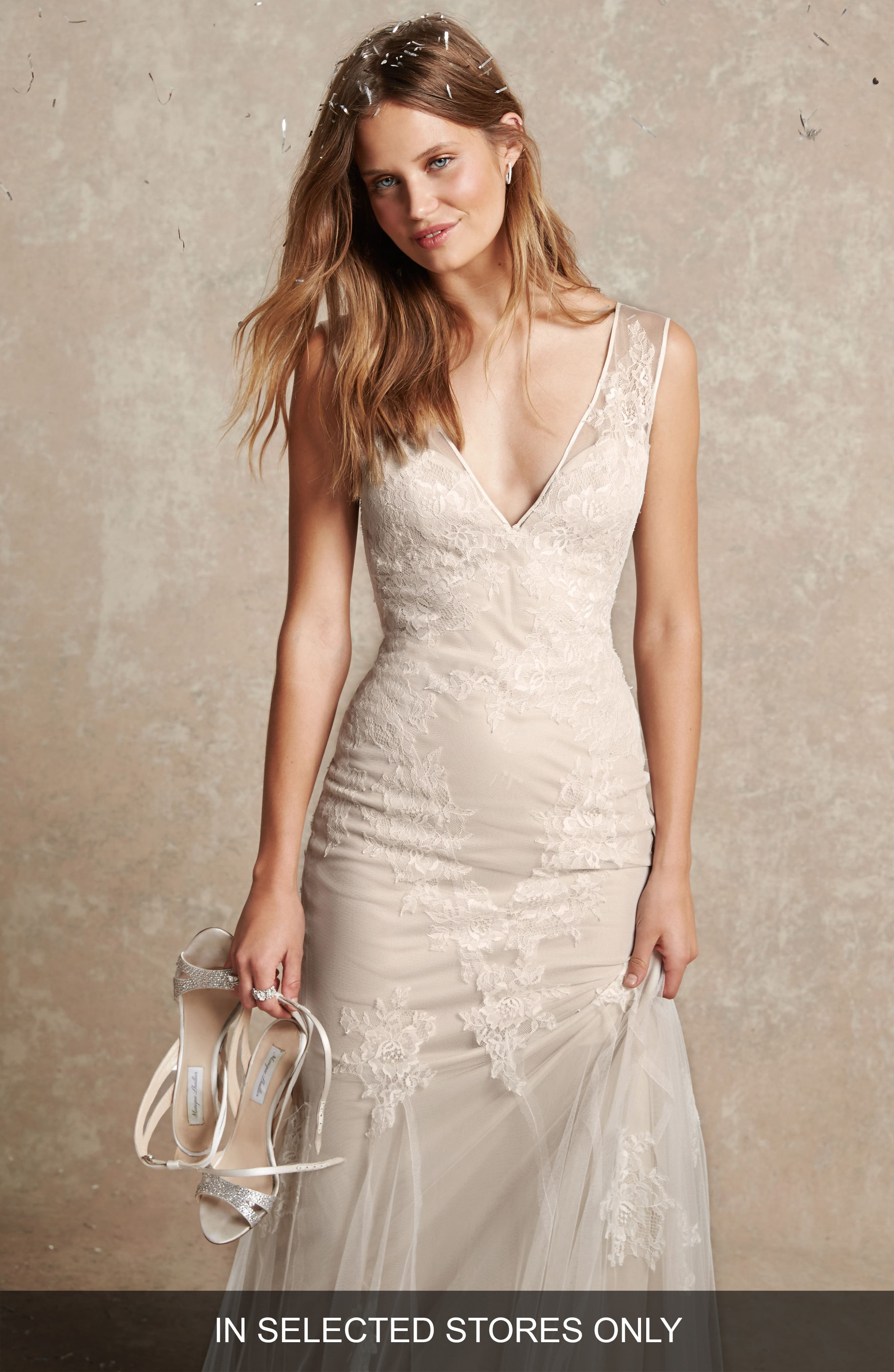 Chantilly Lace & Tulle Gown,                             Main thumbnail 1, color,                             Silk White/ Latte