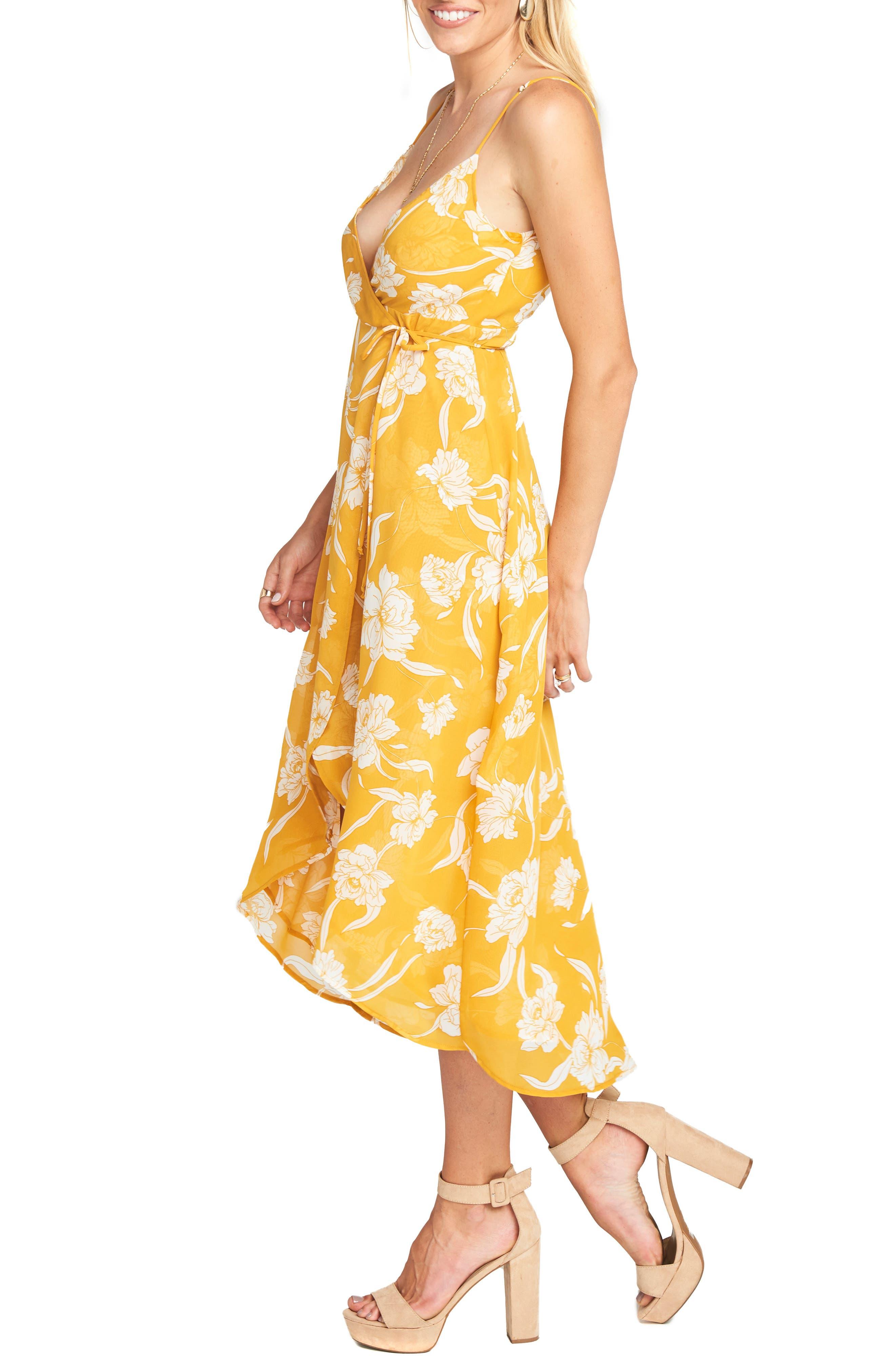 Meghan Wrap Dress,                             Alternate thumbnail 3, color,                             Bloom Gold