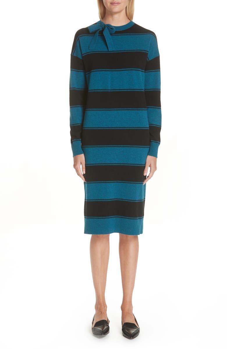 Tie Neck Stripe Wool Sweater Dress