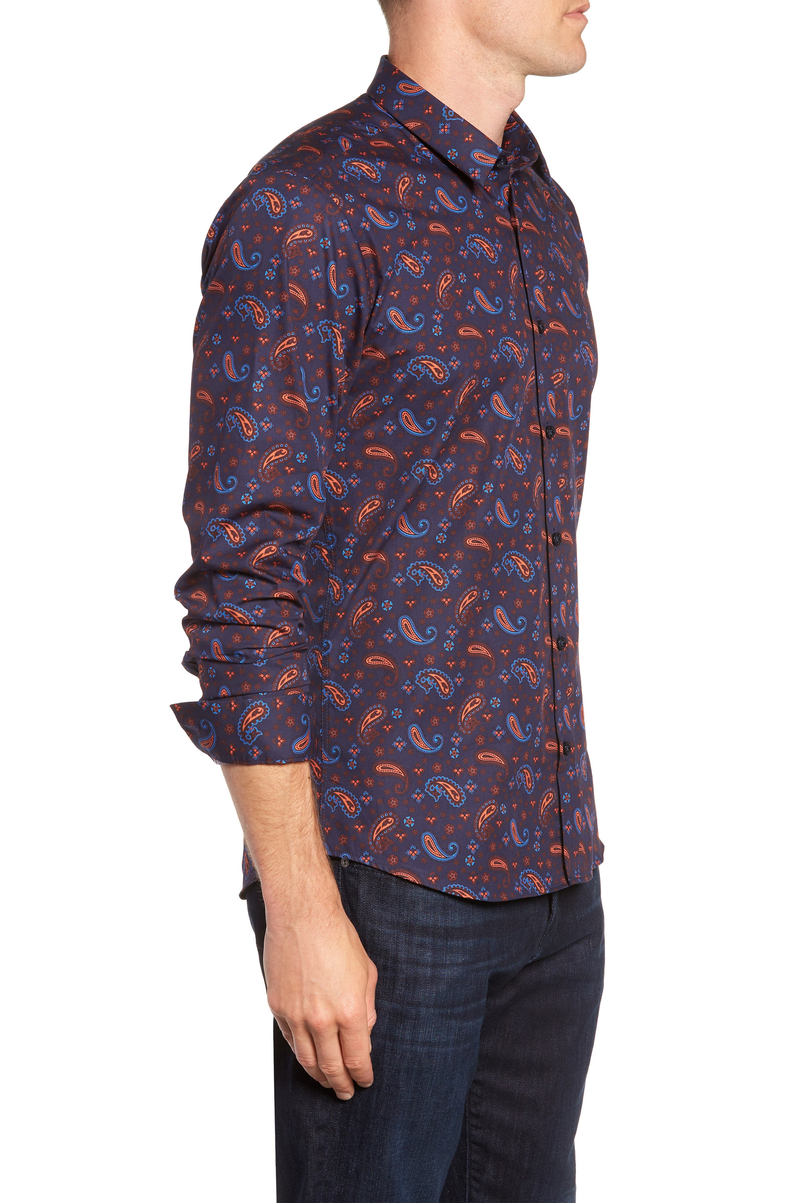 Paisley Print Sport Shirt,                             Alternate thumbnail 4, color,                             Navy Orange Print