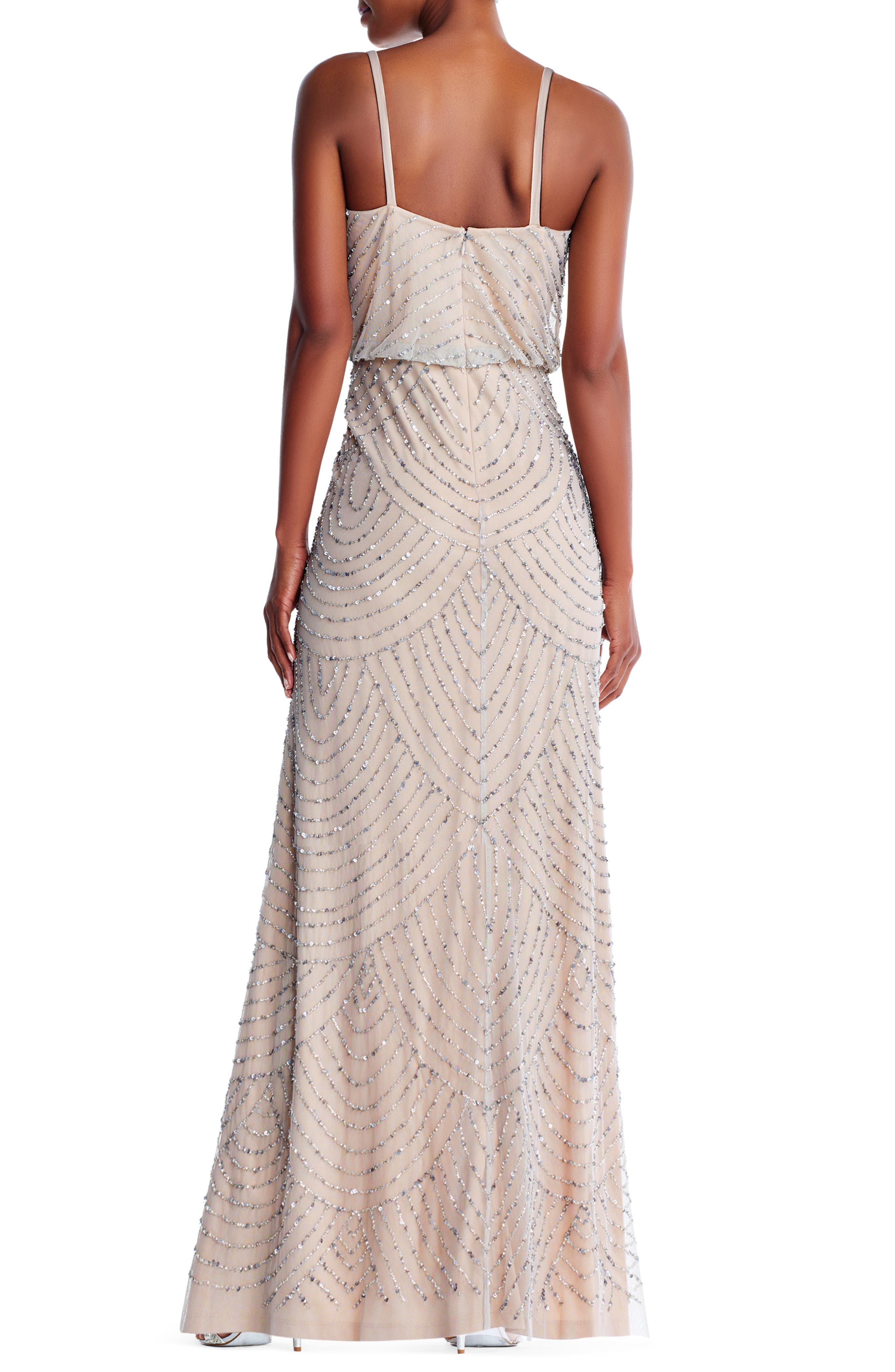 Embellished Blouson Gown,                             Alternate thumbnail 2, color,                             Silver/ Nude