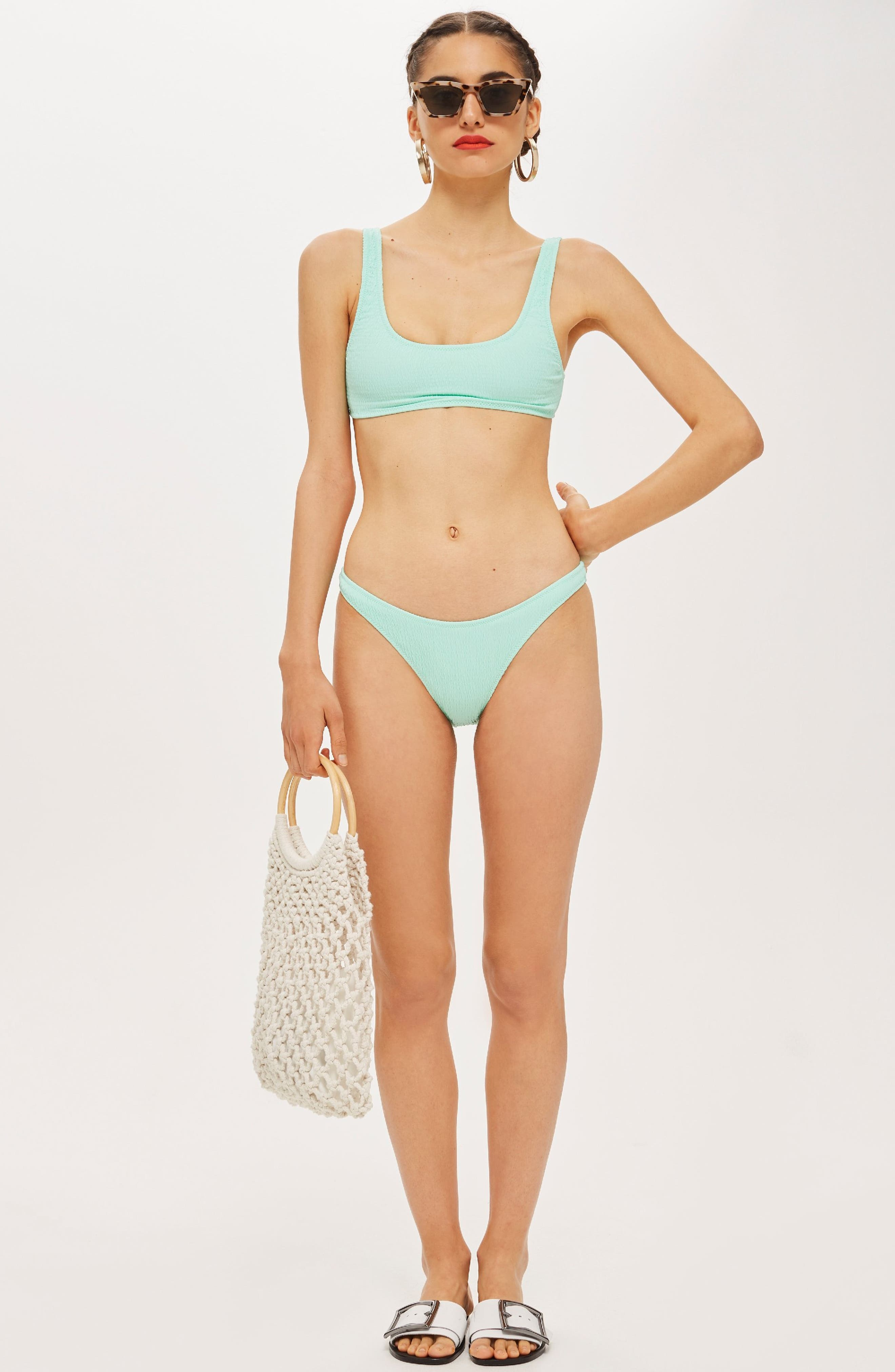 Shirred Crop Bikini Top,                             Alternate thumbnail 2, color,                             Bright Green