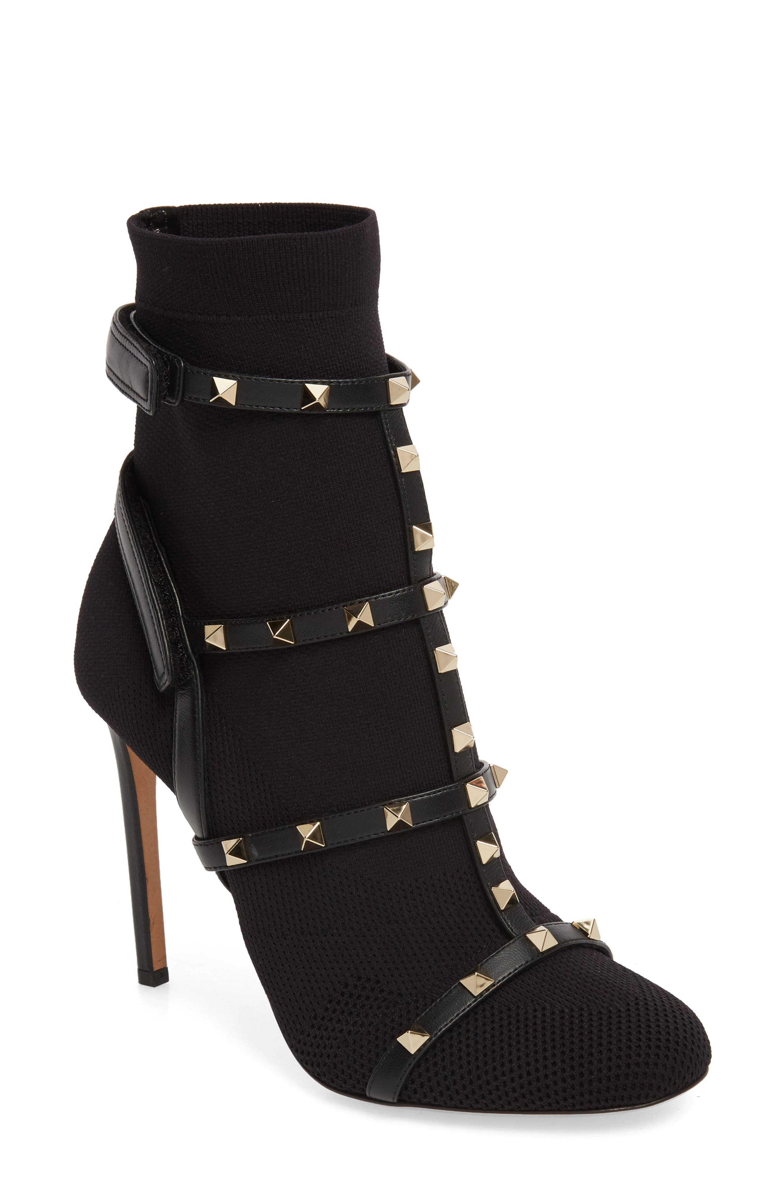 Rockstud Bodytech Bootie,                             Main thumbnail 1, color,                             Black Nappa