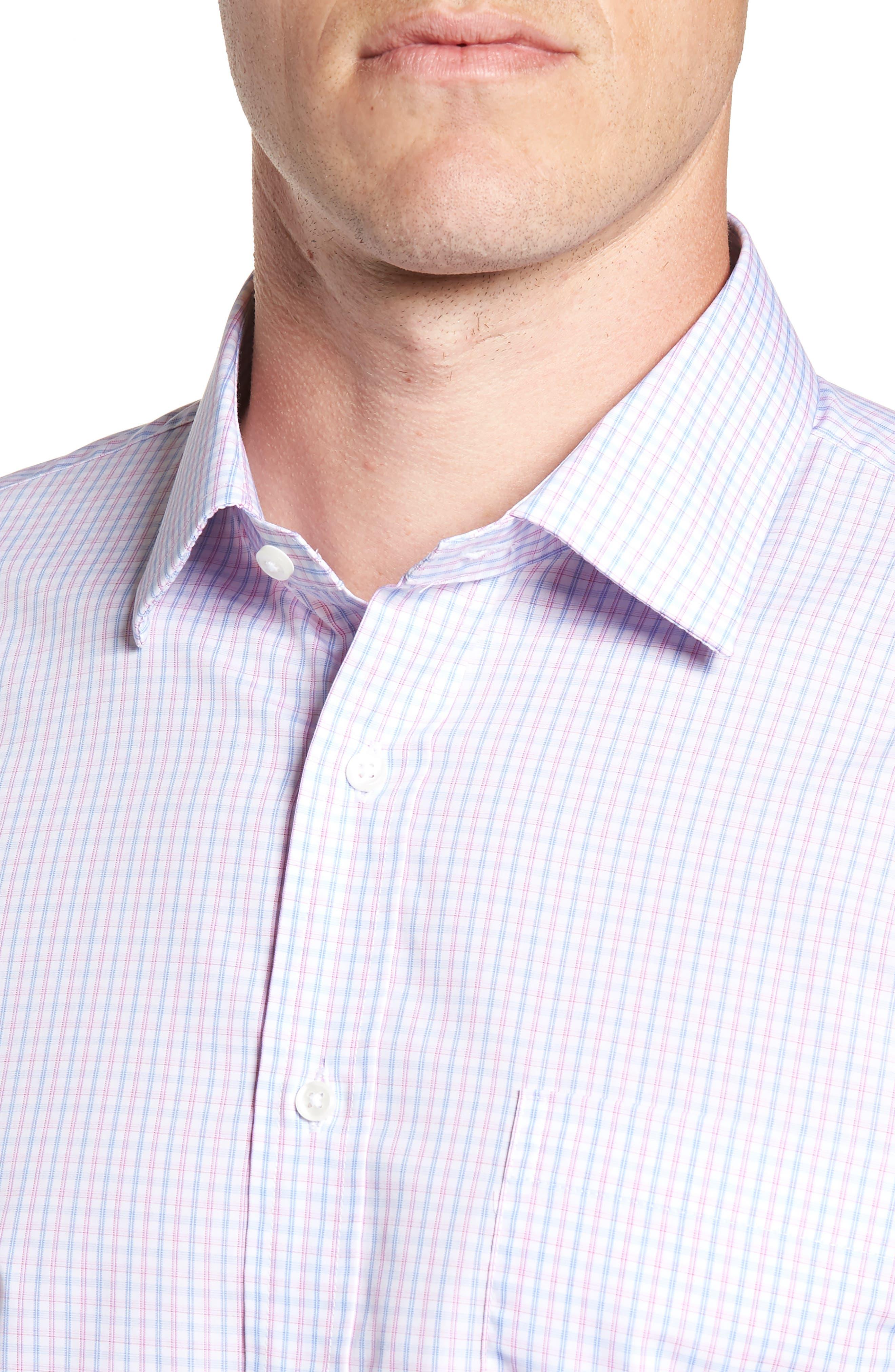 Nordstrom Trim Fit Non-Iron Check Dress Shirt,                             Alternate thumbnail 2, color,                             Pink Carmine