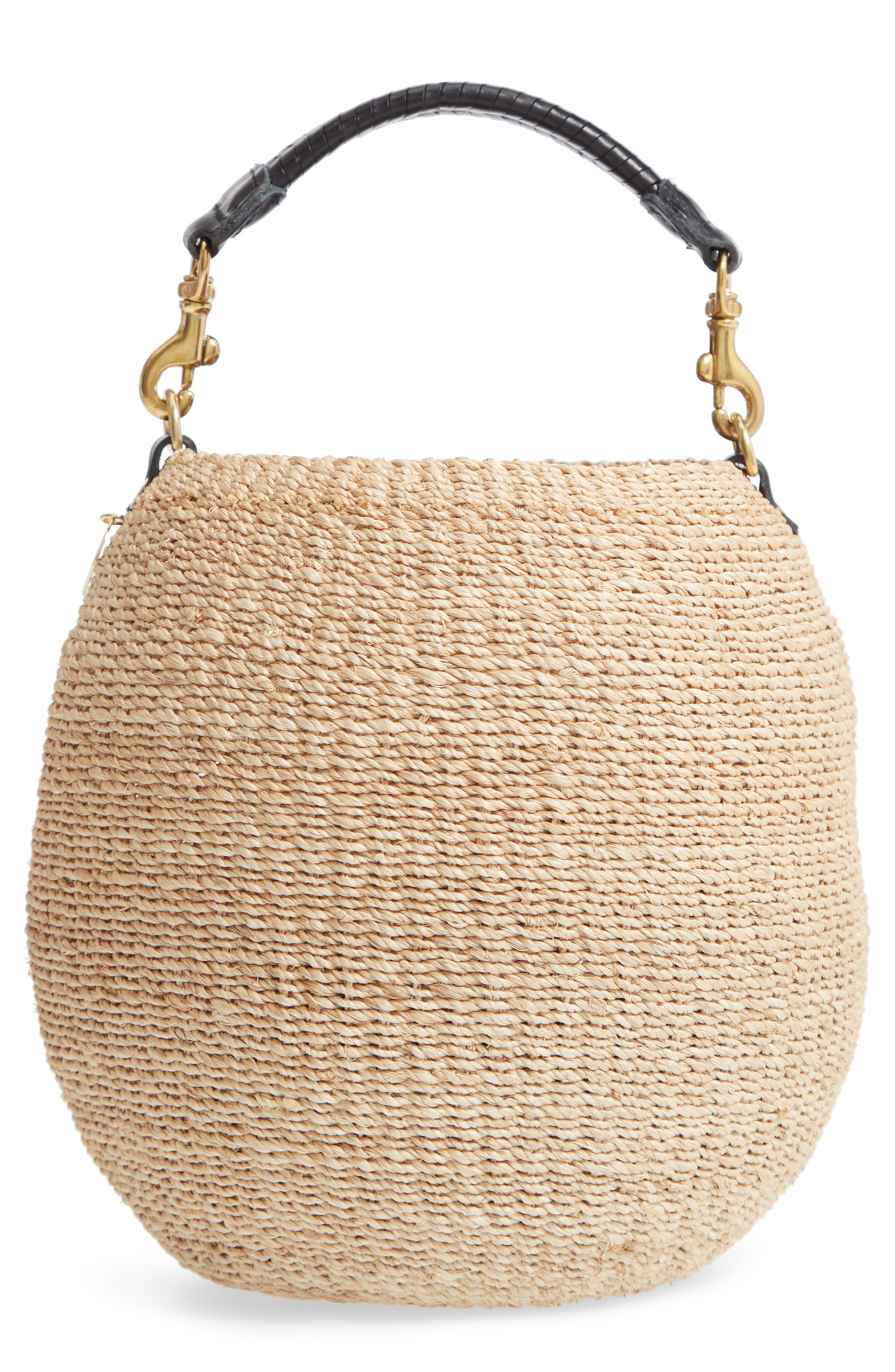 Pot de Miel Top Handle Straw Basket Bag,                             Main thumbnail 1, color,                             Cream