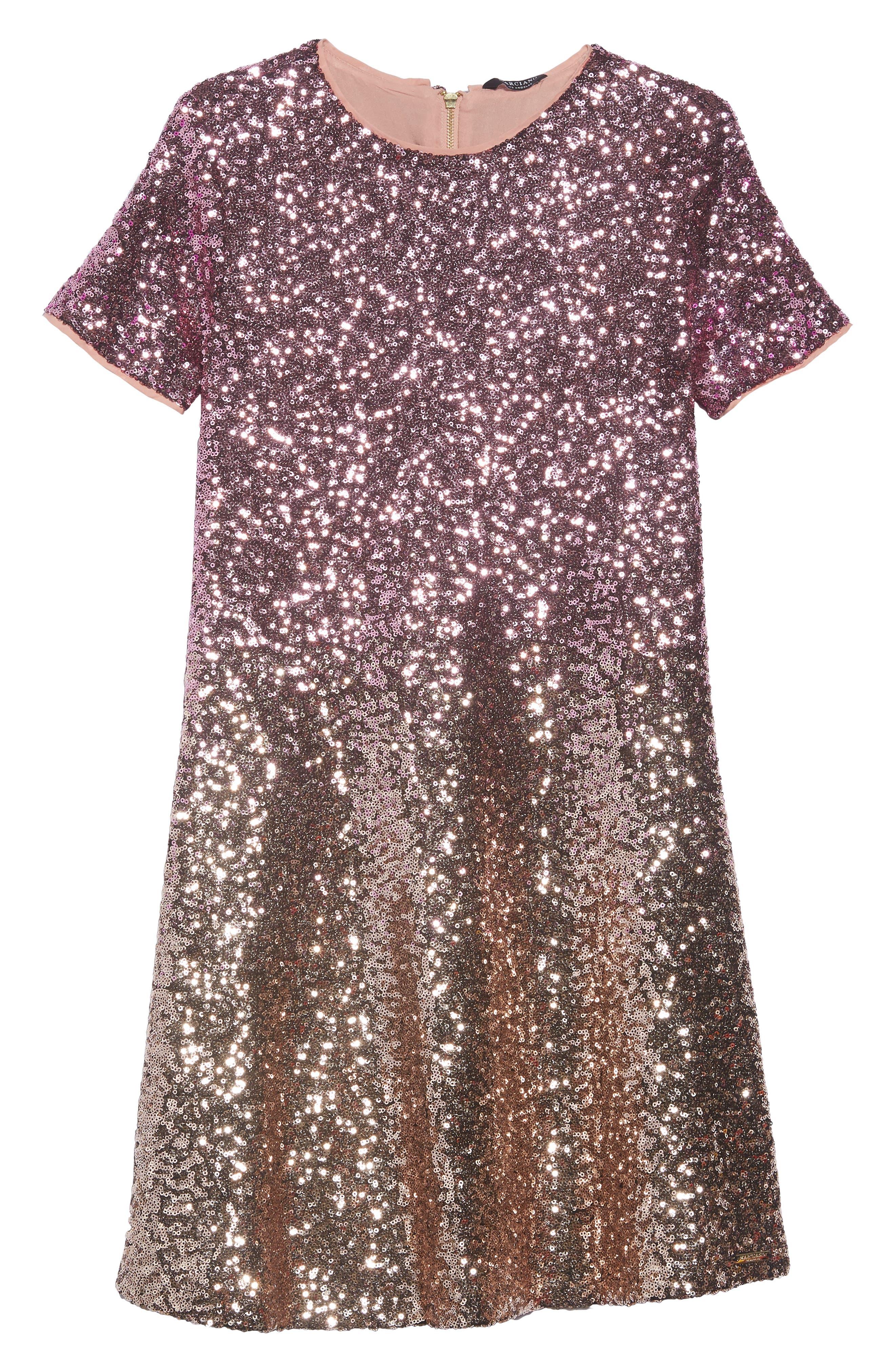 Ombré Sequin Skater Dress,                         Main,                         color, Vanish Gold Sequins