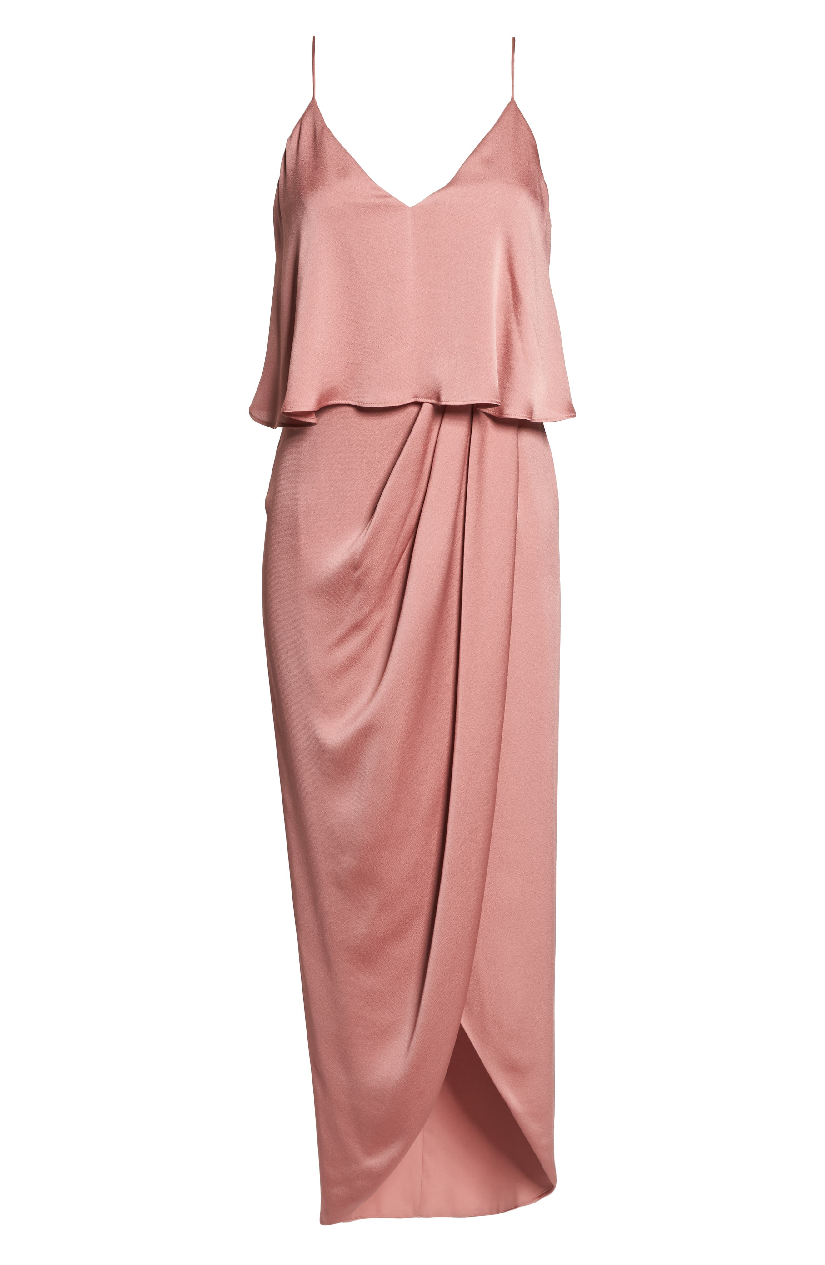 Luxe Frill Tulip Hem Maxi Dress,                             Alternate thumbnail 6, color,                             Rose