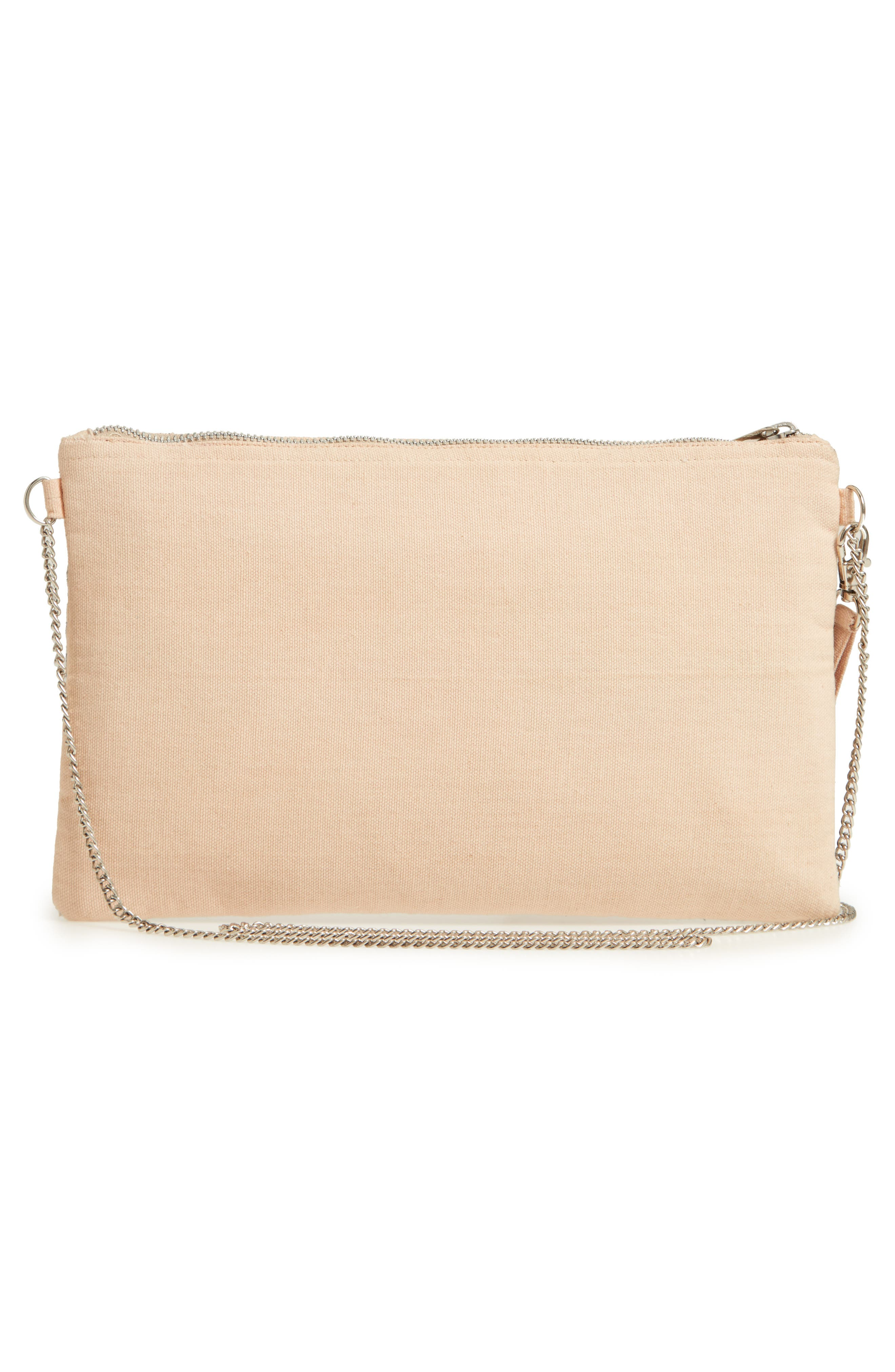 Embroidered Zip Clutch,                             Alternate thumbnail 3, color,                             Pink Multi
