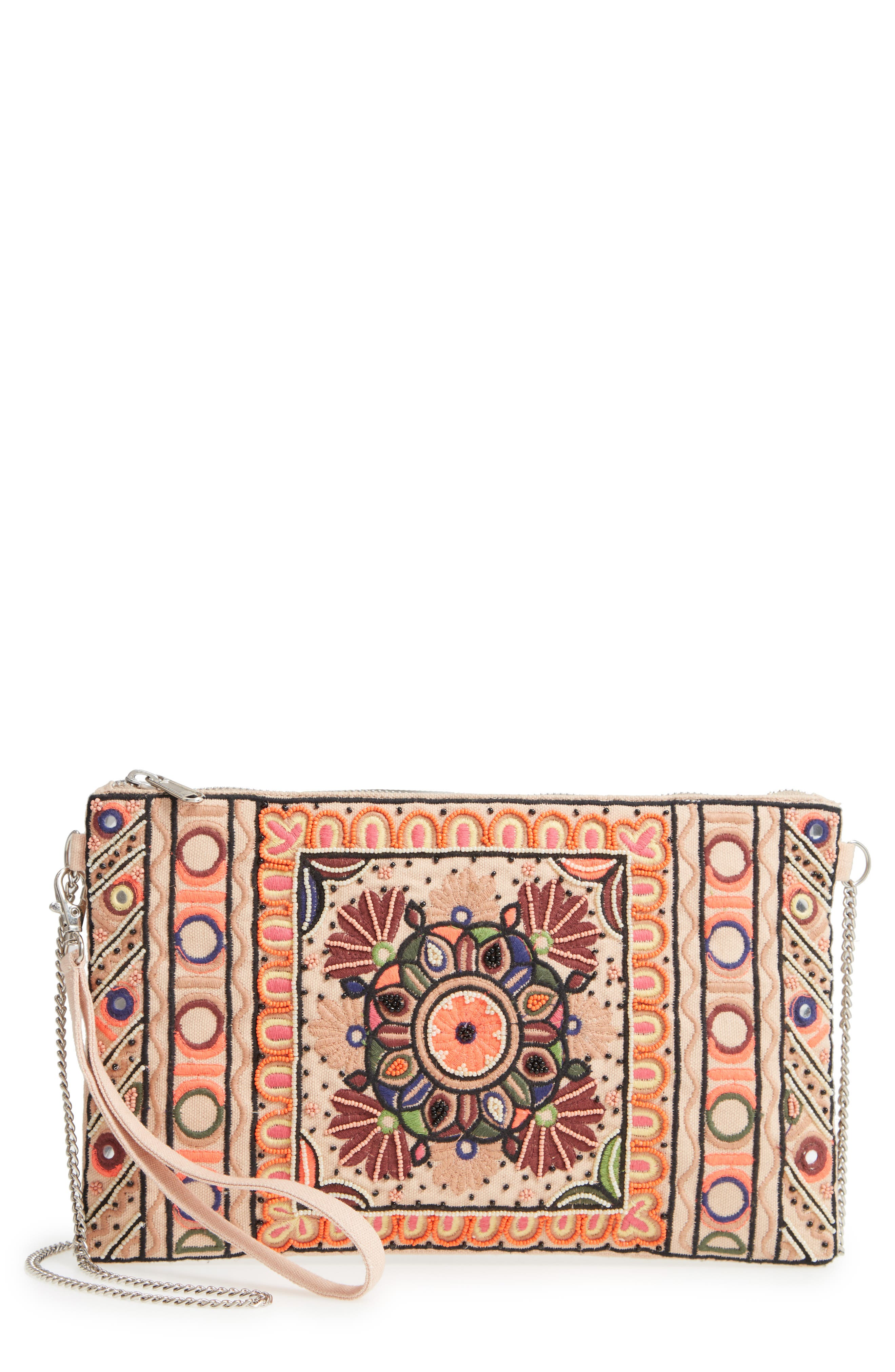 Embroidered Zip Clutch,                             Main thumbnail 1, color,                             Pink Multi